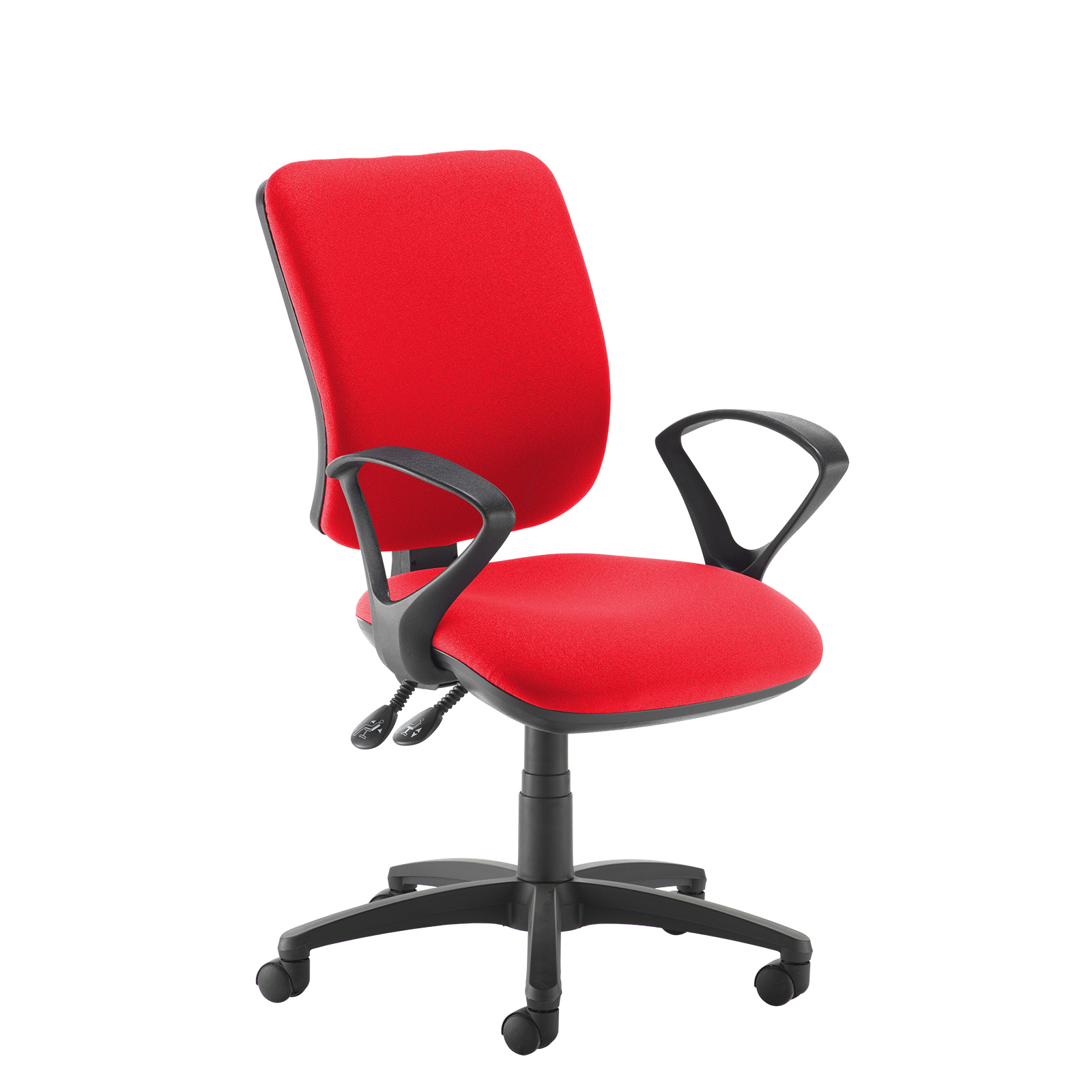 Desk Chairs Senza high back operator chair with fixed arms - red