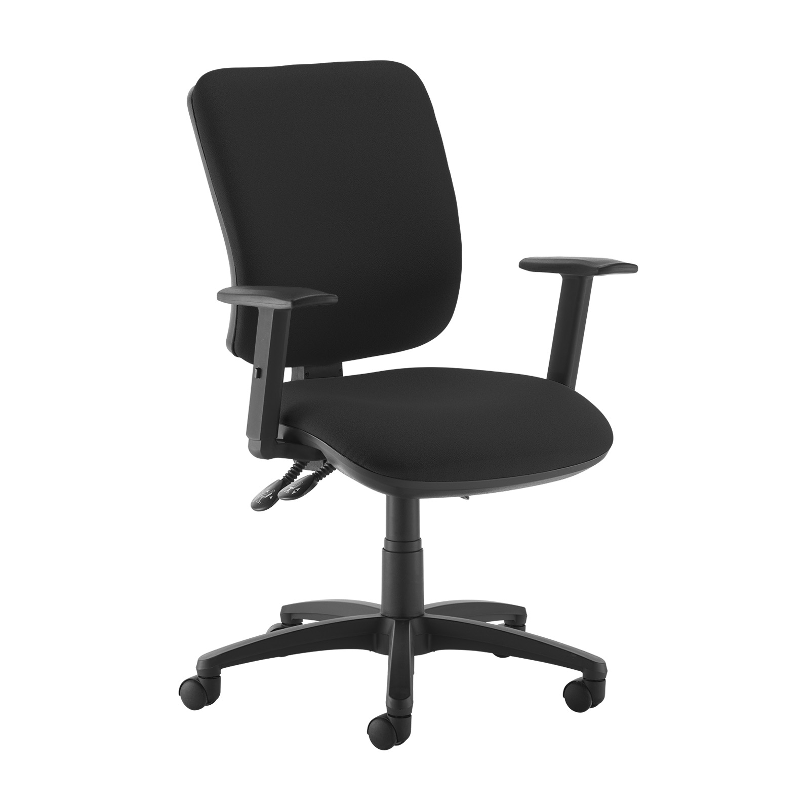 Senza high back operator chair with adjustable arms - black