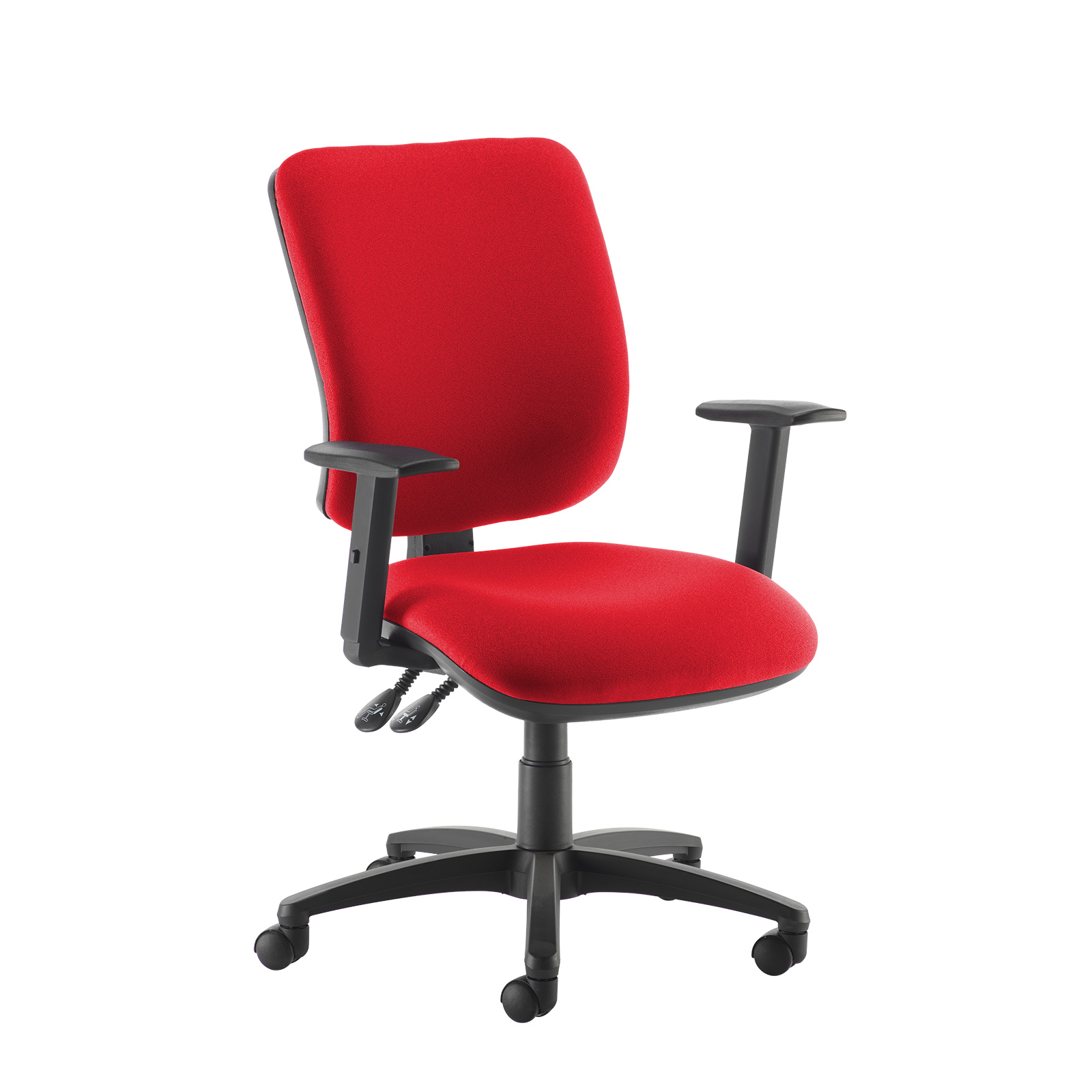 Senza high back operator chair with adjustable arms - red