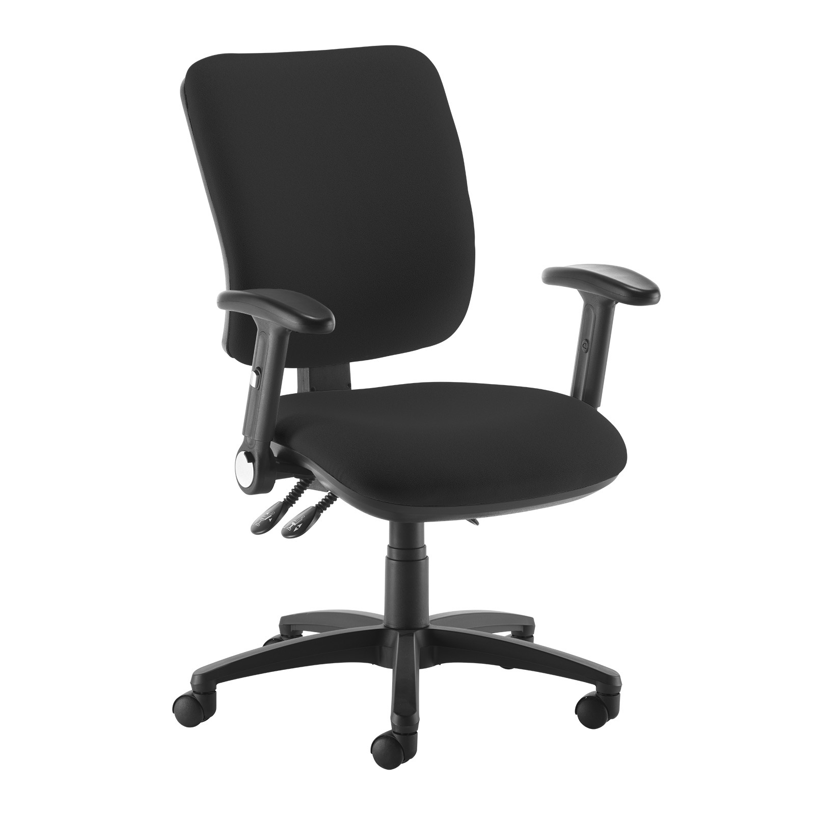Senza high back operator chair with folding arms - black