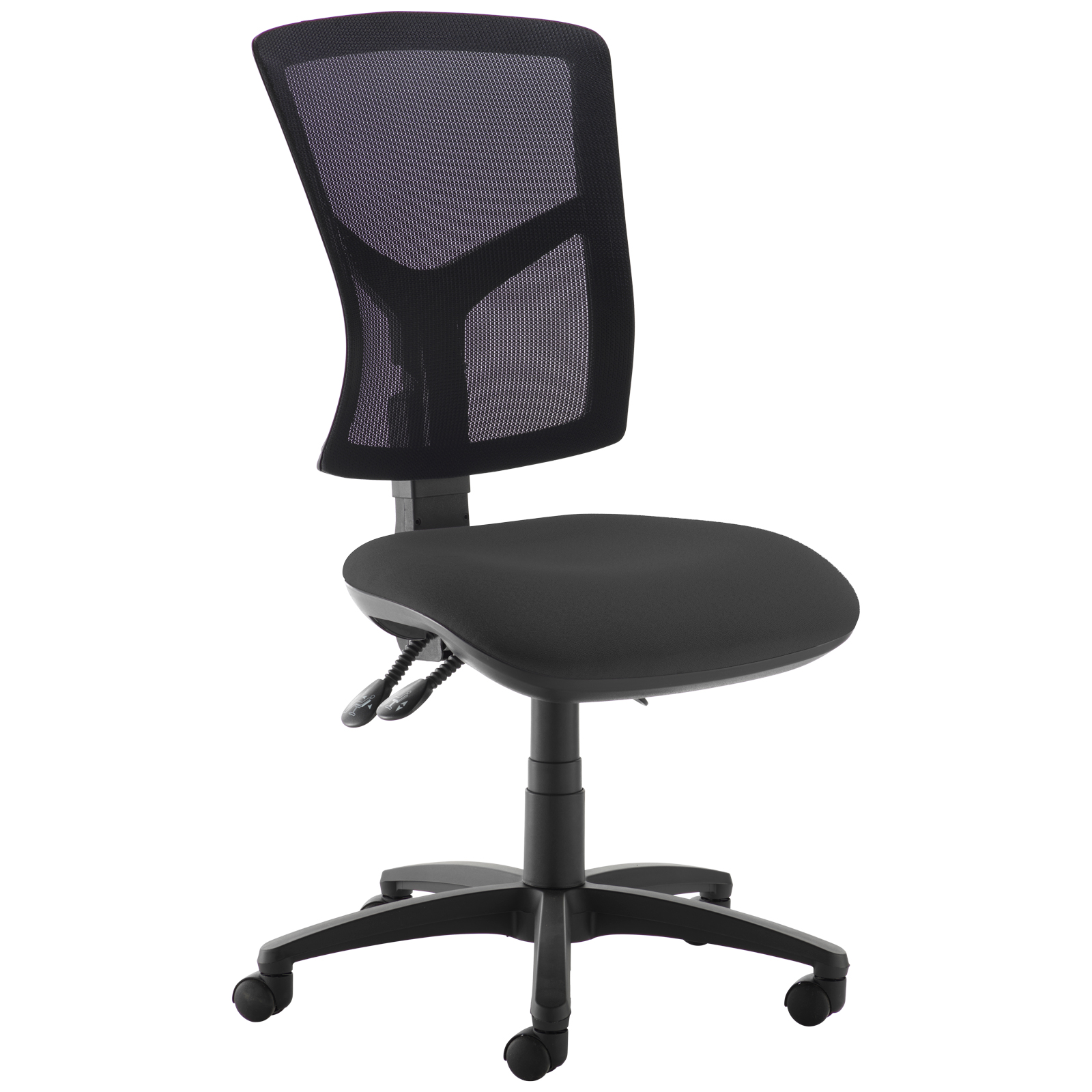Senza high mesh back operator chair with no arms - black
