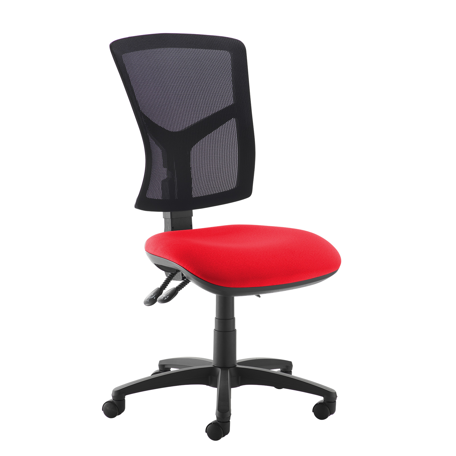 Senza high mesh back operator chair with no arms - red