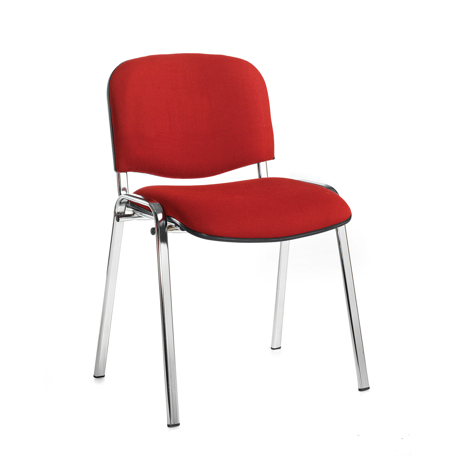 Taurus meeting room stackable chair with chrome frame and no arms - burgundy