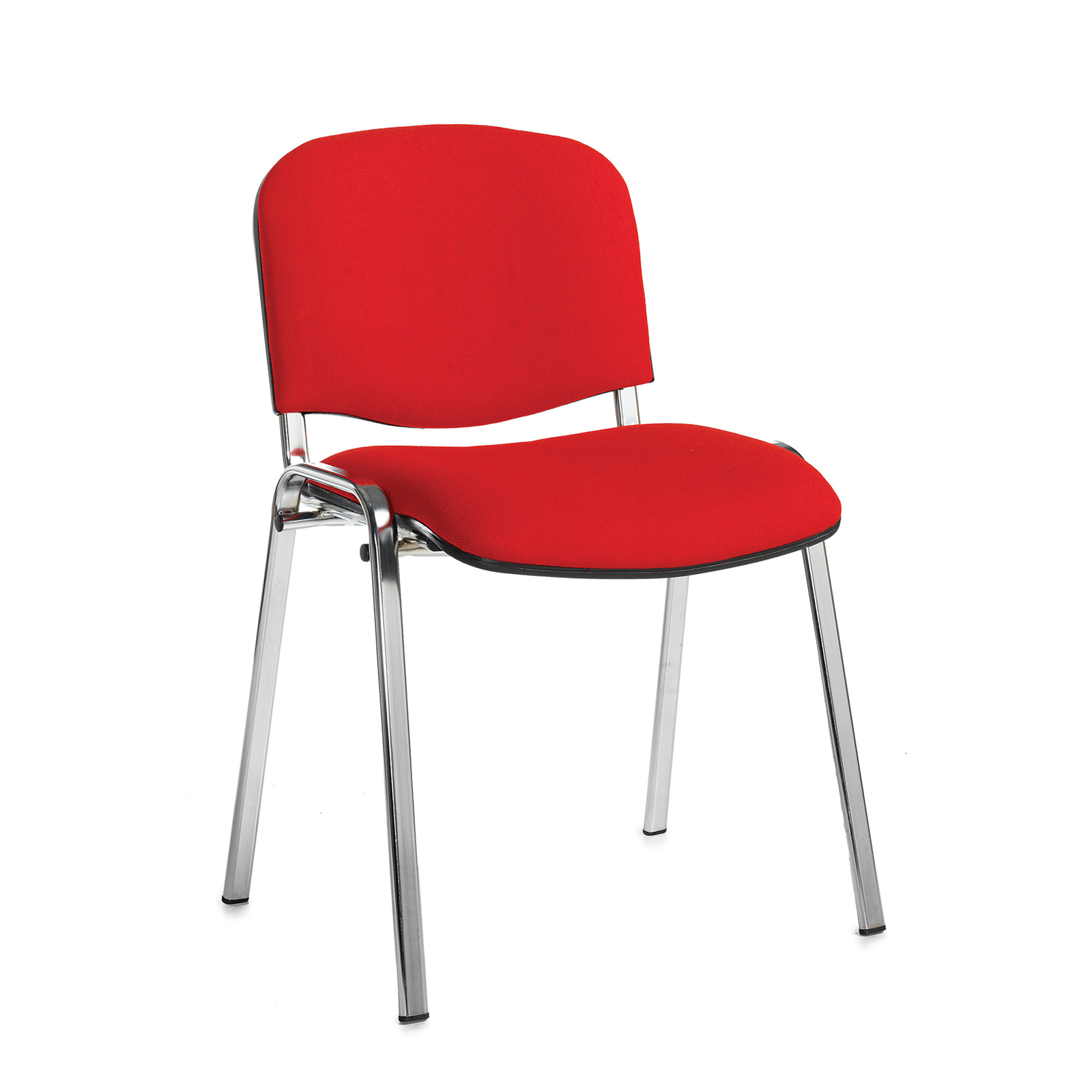 Taurus meeting room stackable chair with chrome frame and no arms - red