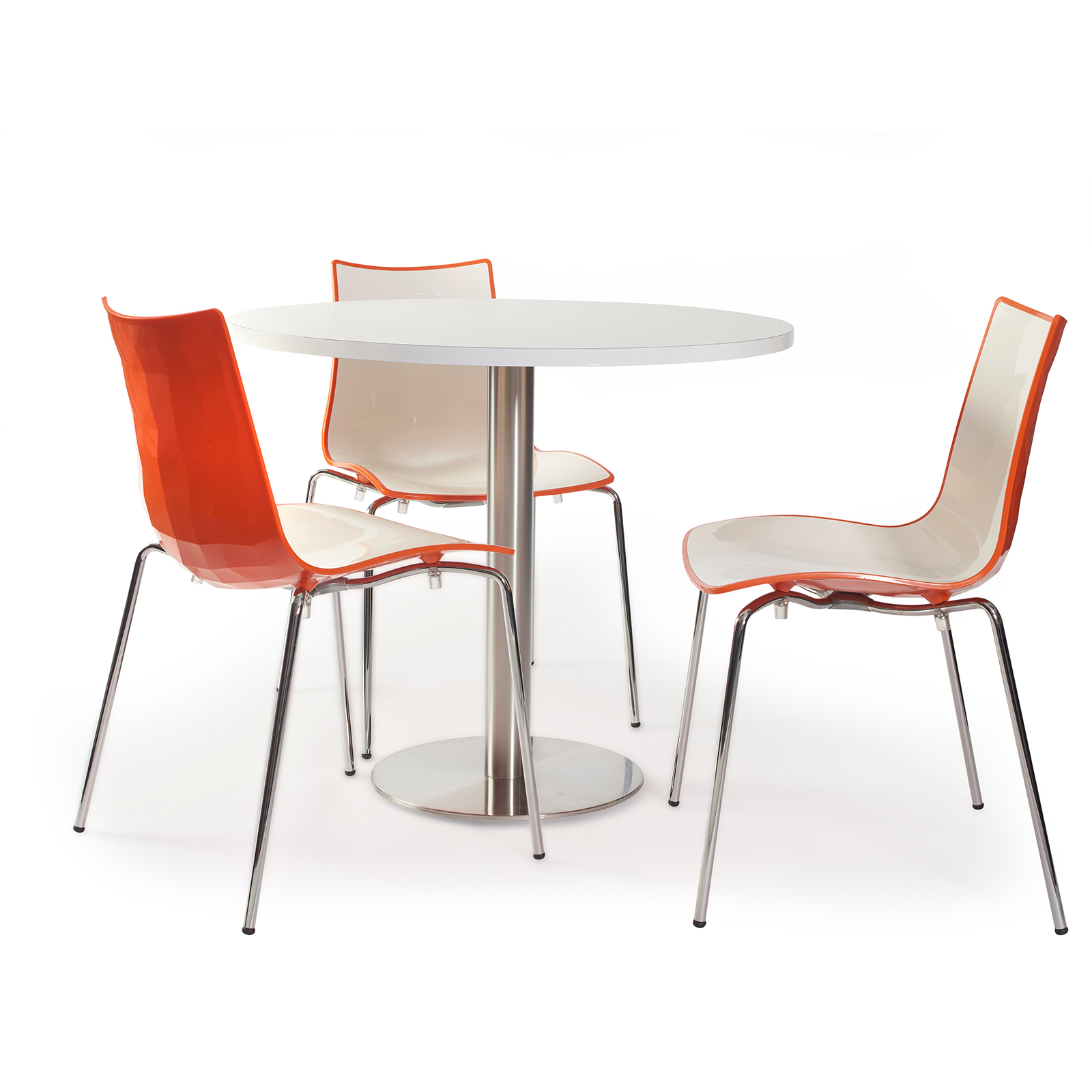 Gecko shell dining stacking chair with chrome legs - orange