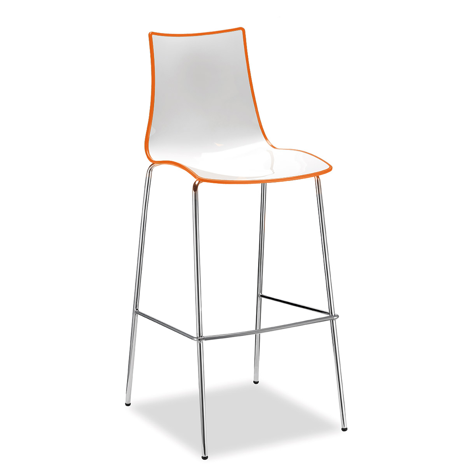 Gecko shell dining stool with chrome legs - orange
