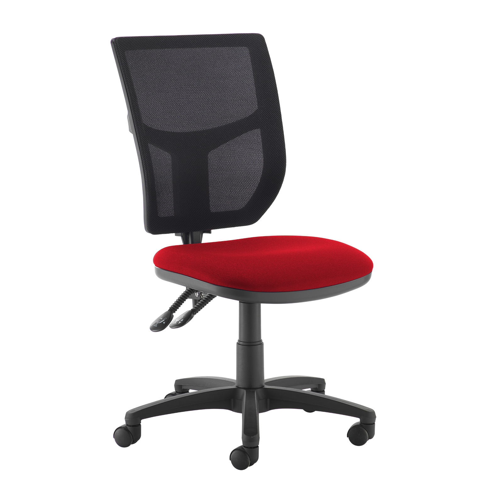 Altino 2 lever high mesh back operators chair with no arms - red