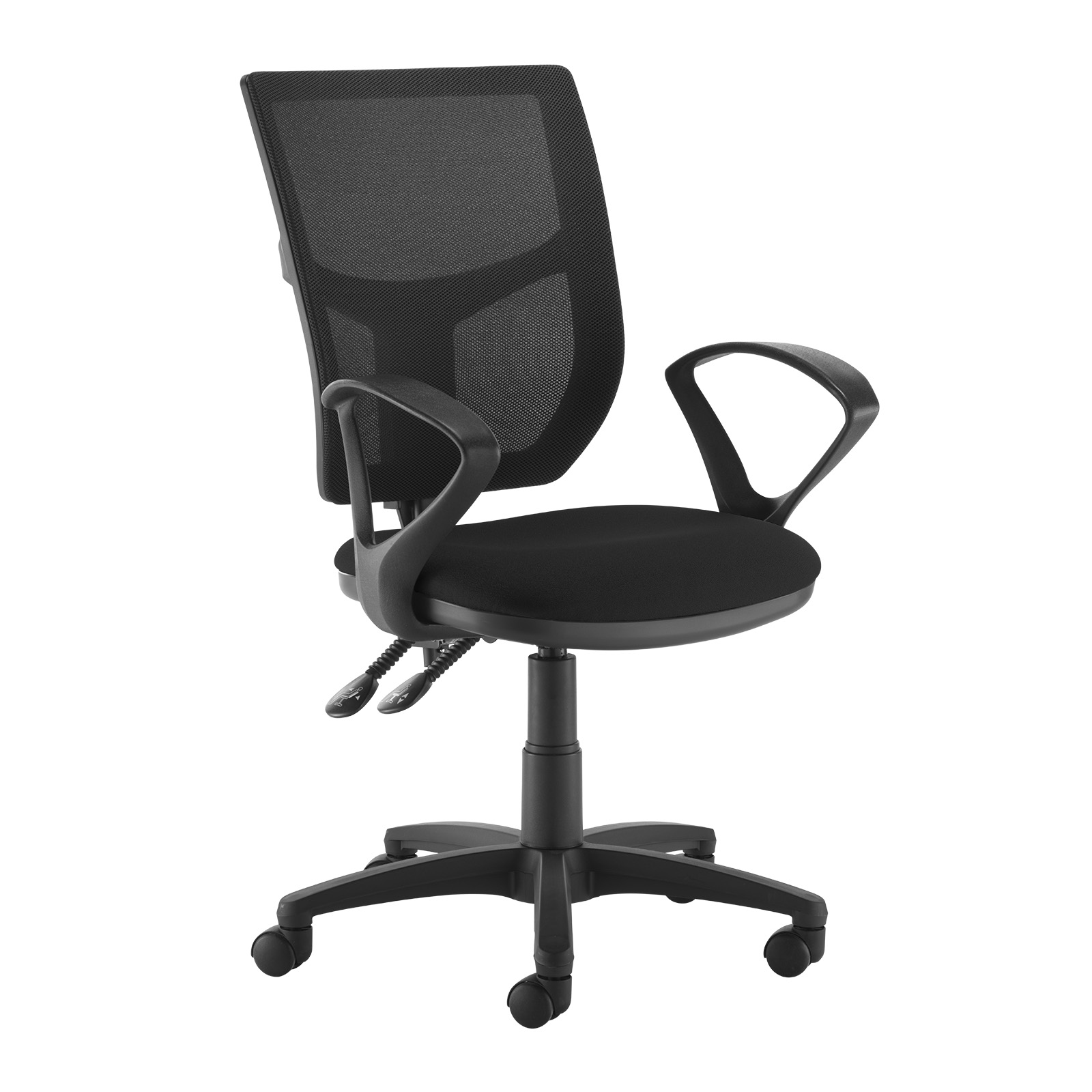 Desk Chairs Altino 2 lever high mesh back operators chair with fixed arms - black