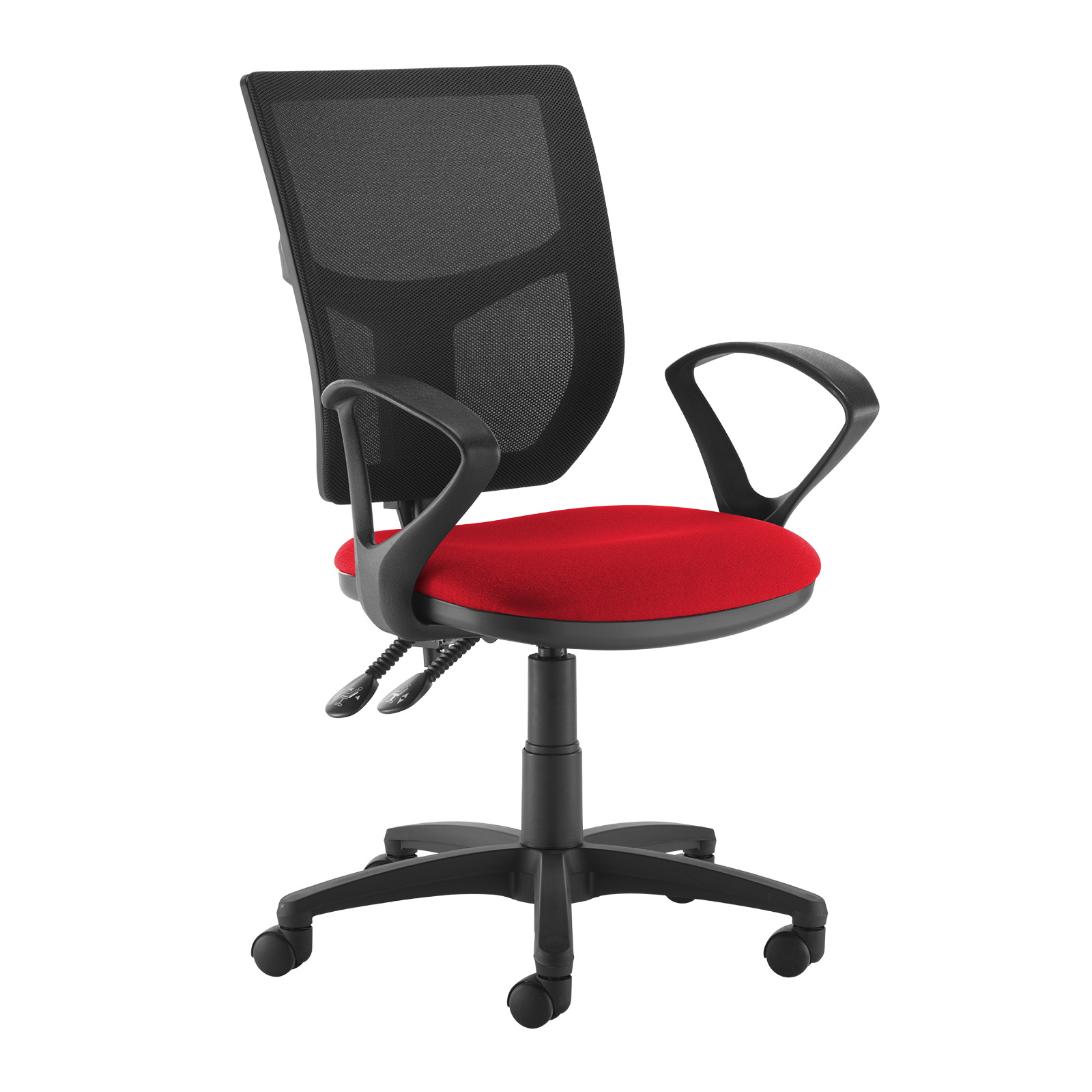 Desk Chairs Altino 2 lever high mesh back operators chair with fixed arms - red