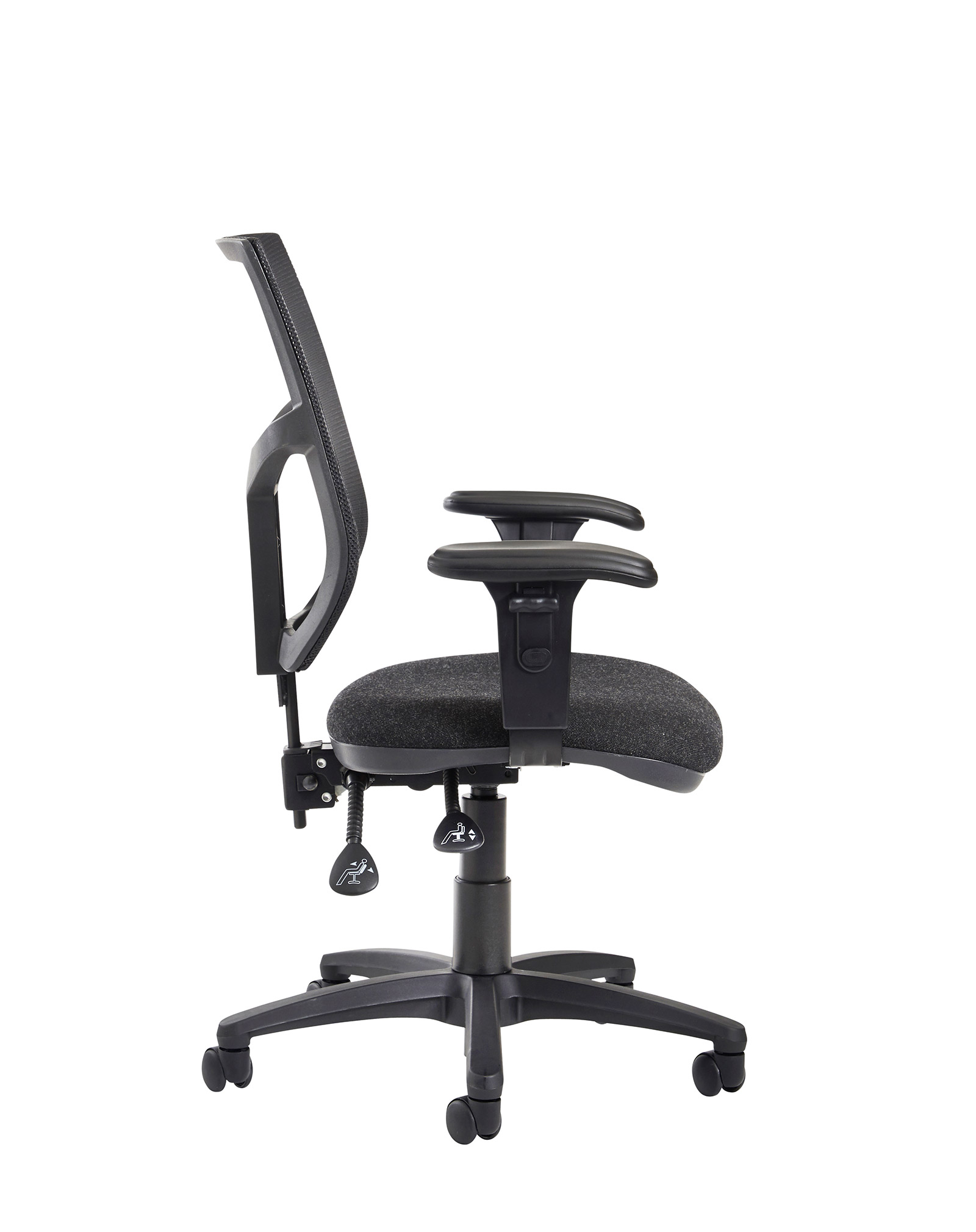 Chairs Altino 2 lever high mesh back operators chair with adjustable arms - charcoal