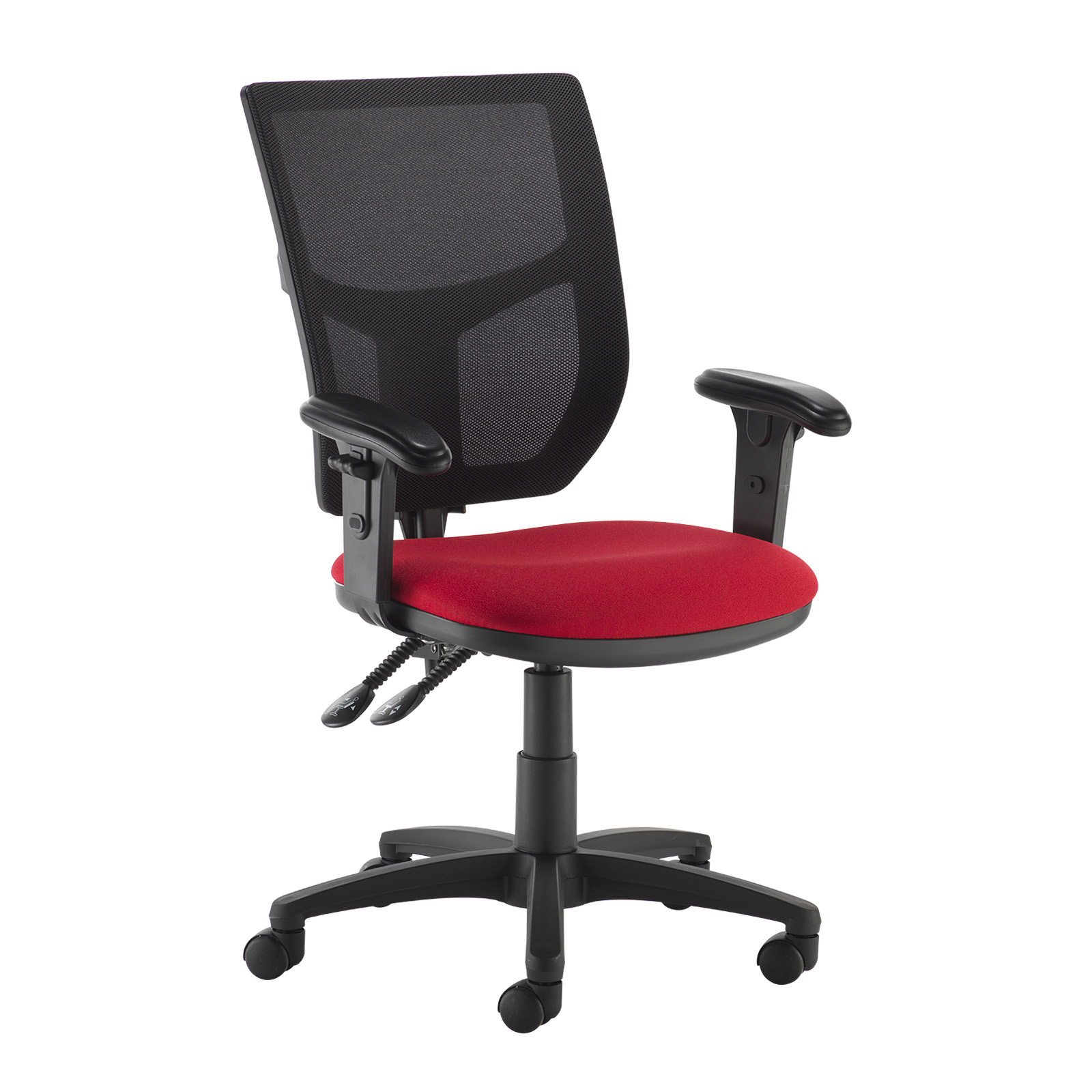 Desk Chairs Altino 2 lever high mesh back operators chair with adjustable arms - red