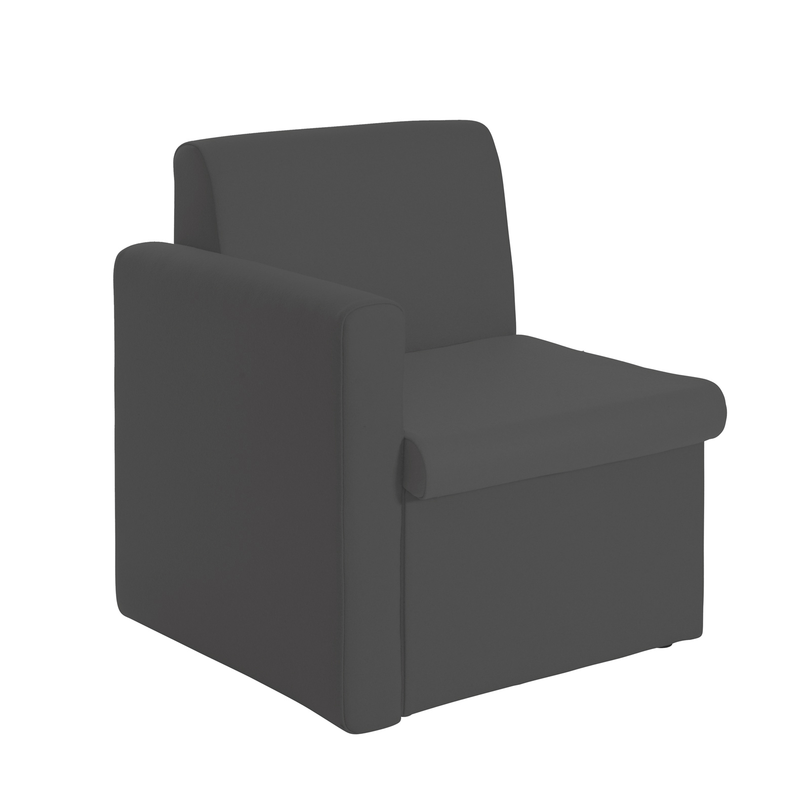 Alto modular reception seating with right hand arm - charcoal
