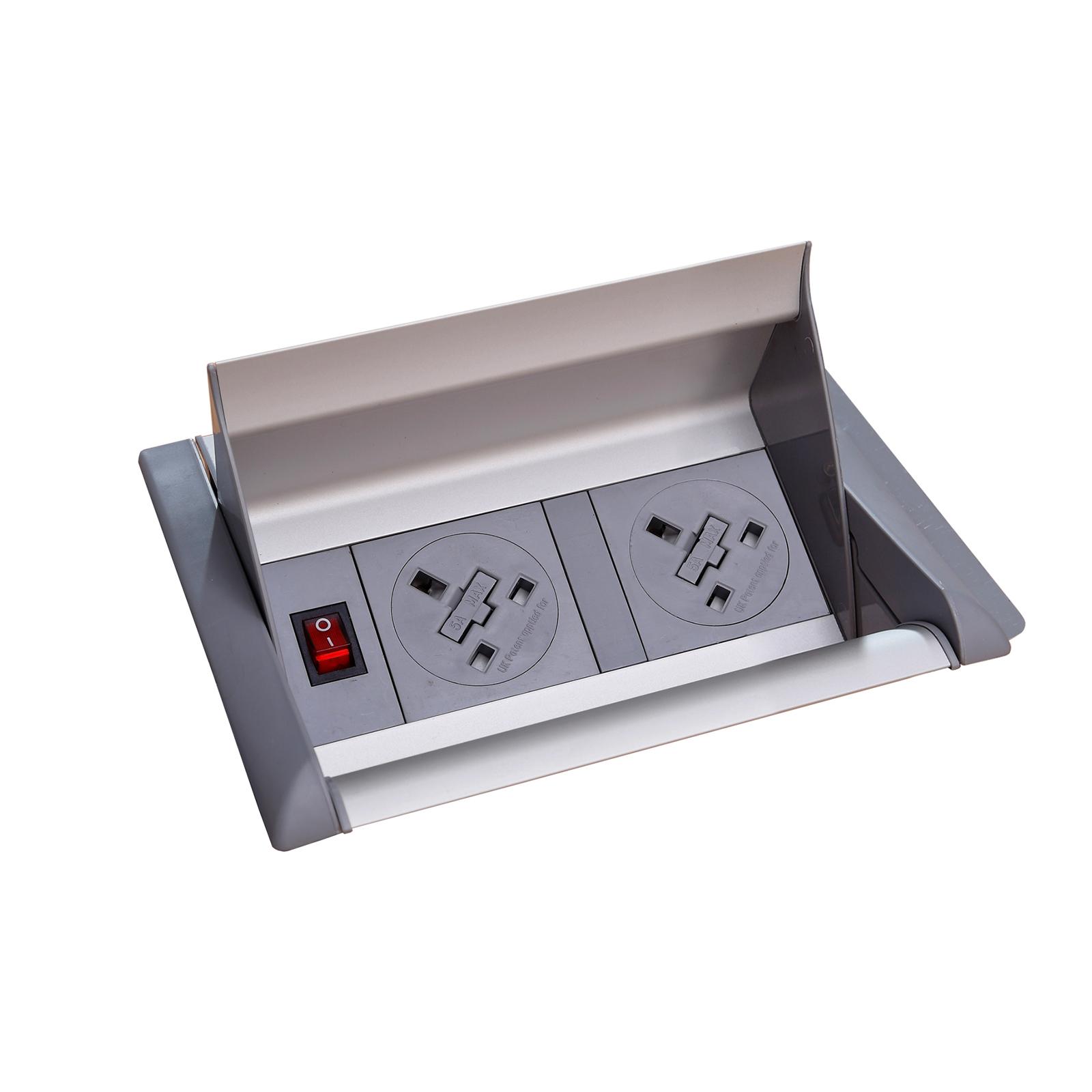 Plug Socket Aero fliptop in-table power module 2 x UK sockets - grey/silver