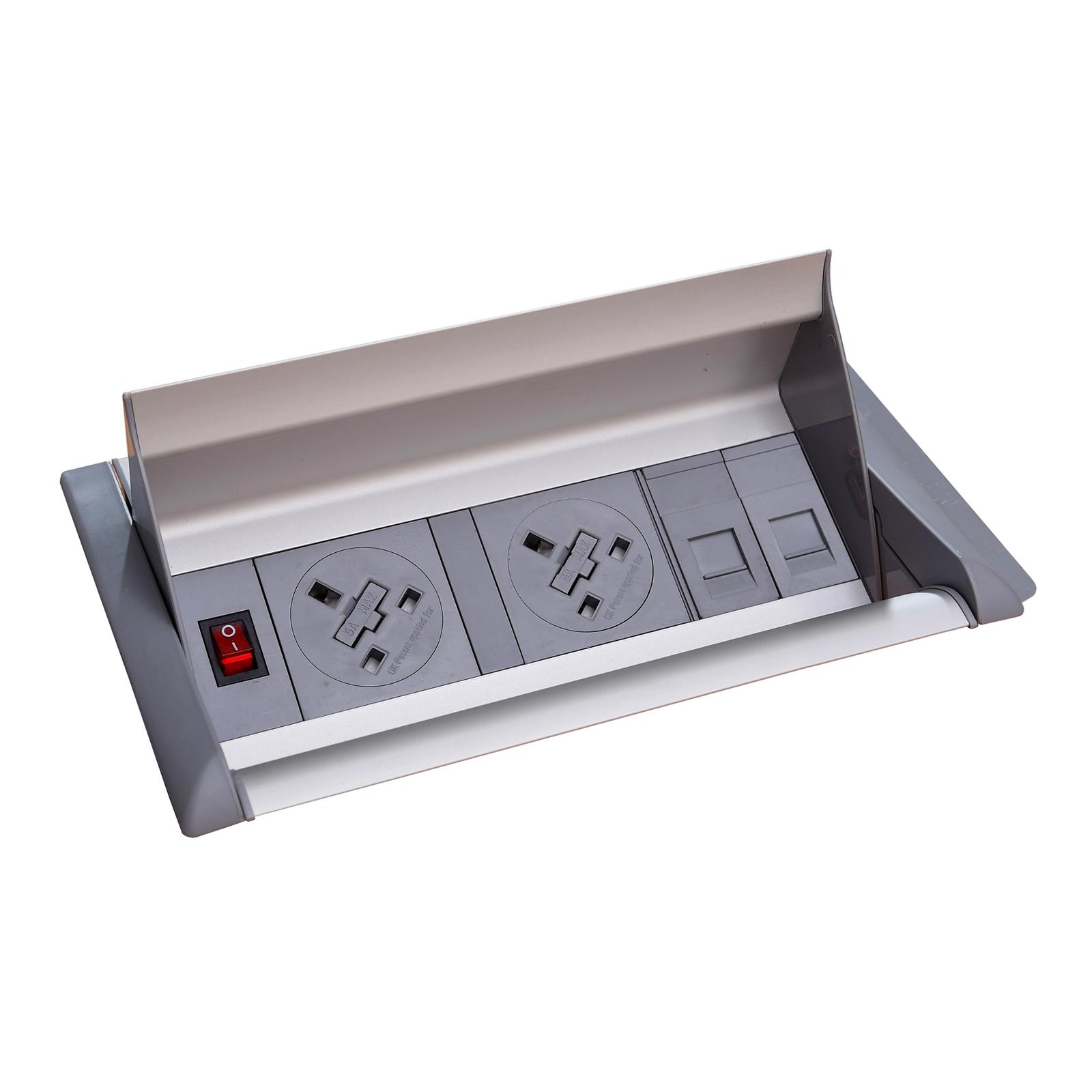 Plug Socket Aero fliptop in-table power module 2 x UK sockets , 2 x RJ45 sockets - grey/silver