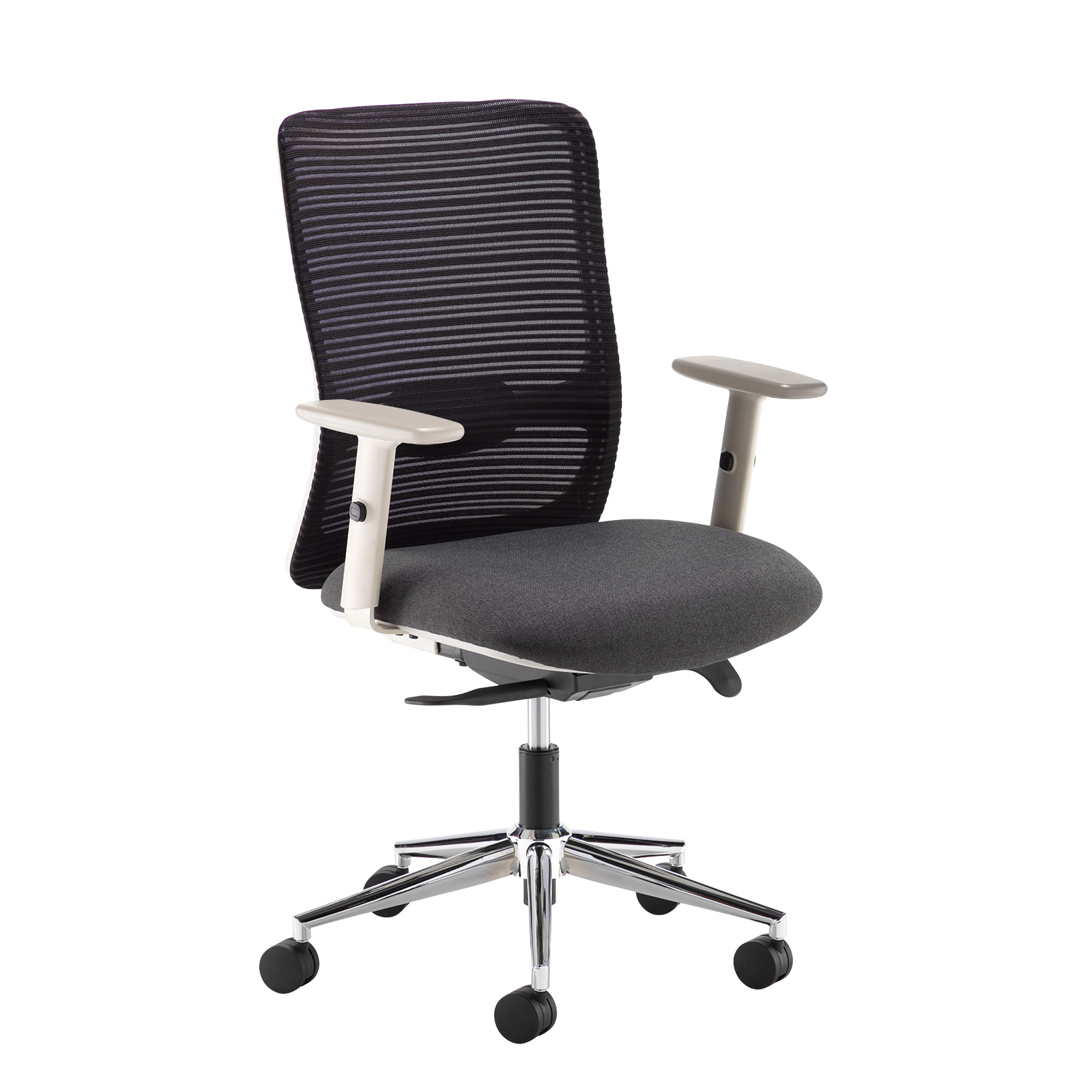 Desk Chairs Arcade black mesh back operator chair with black fabric seat, grey frame and chrome base
