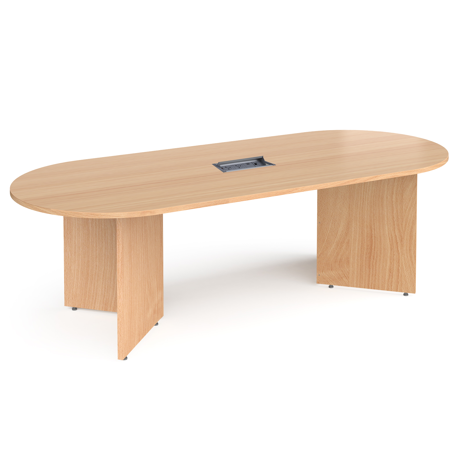 Arrow head leg radial end boardroom table 2400mm x 1000mm in beech with central cutout and Aero power module