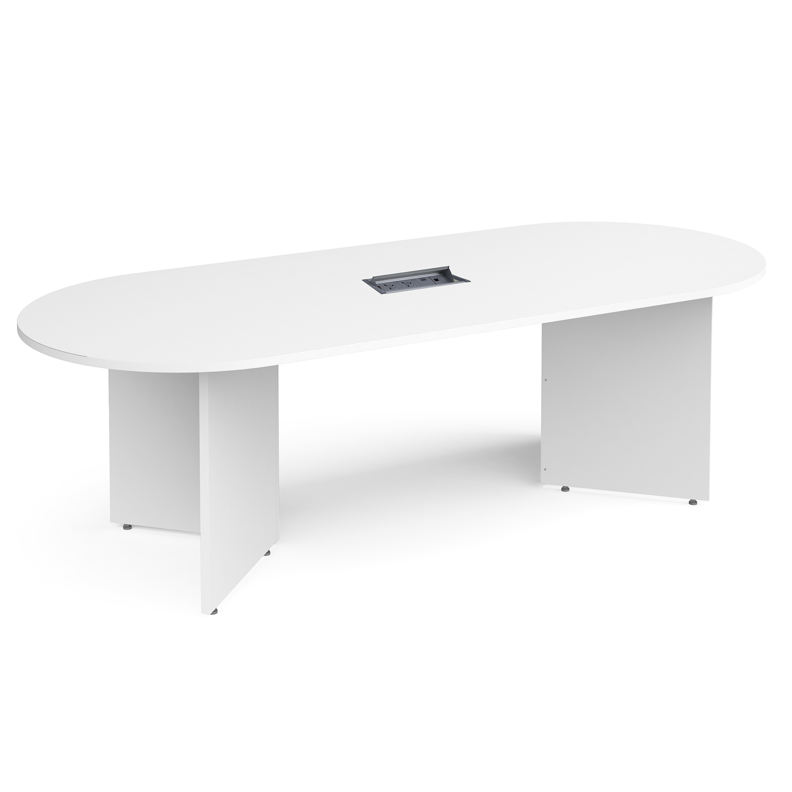 Boardroom / Meeting Arrow head leg radial end boardroom table 2400mm x 1000mm in white with central cutout and Aero power module