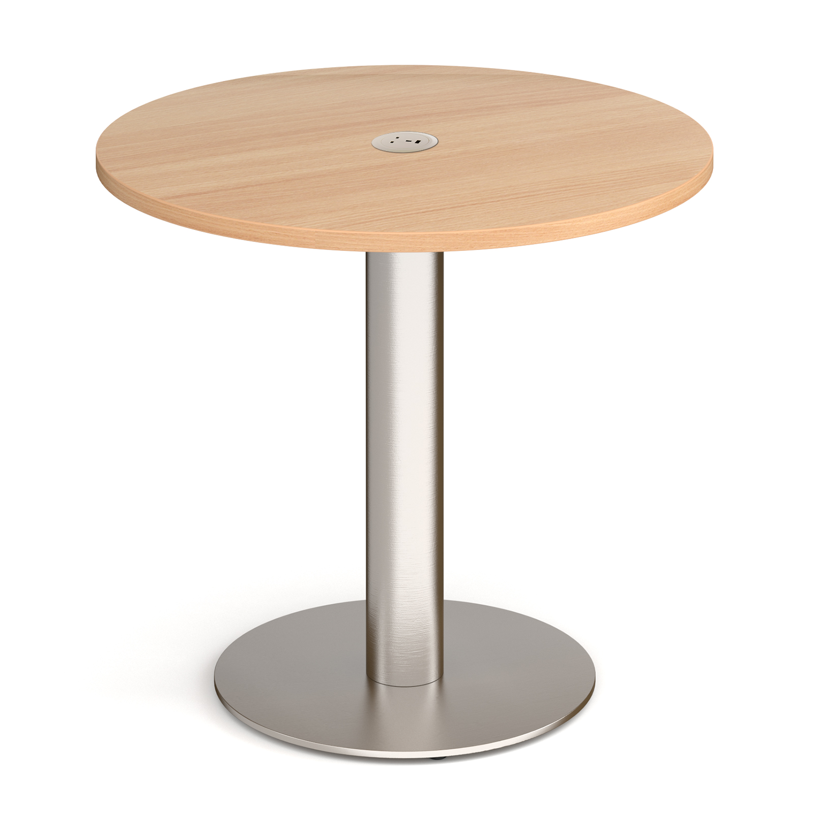 Monza circular dining table 800mm in beech with central circular cutout and Ion power module in white