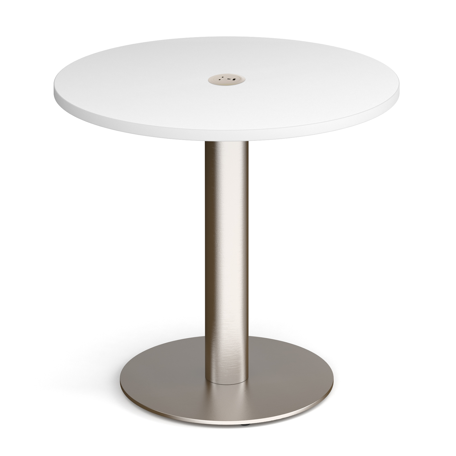 Boardroom / Meeting Monza circular dining table 800mm in white with central circular cutout and Ion power module in white