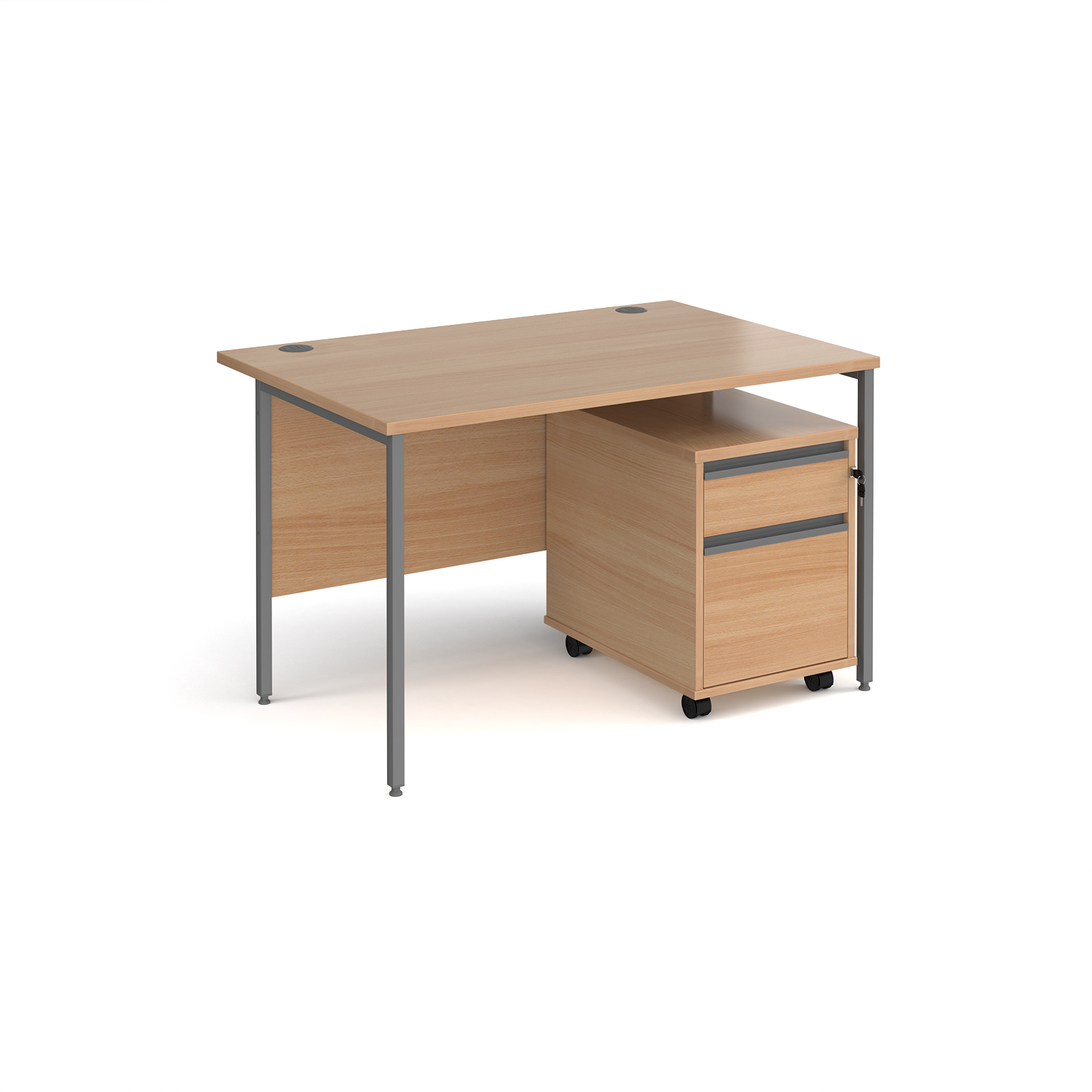 Contract 25 straight H-frame desk with mobile pedestal