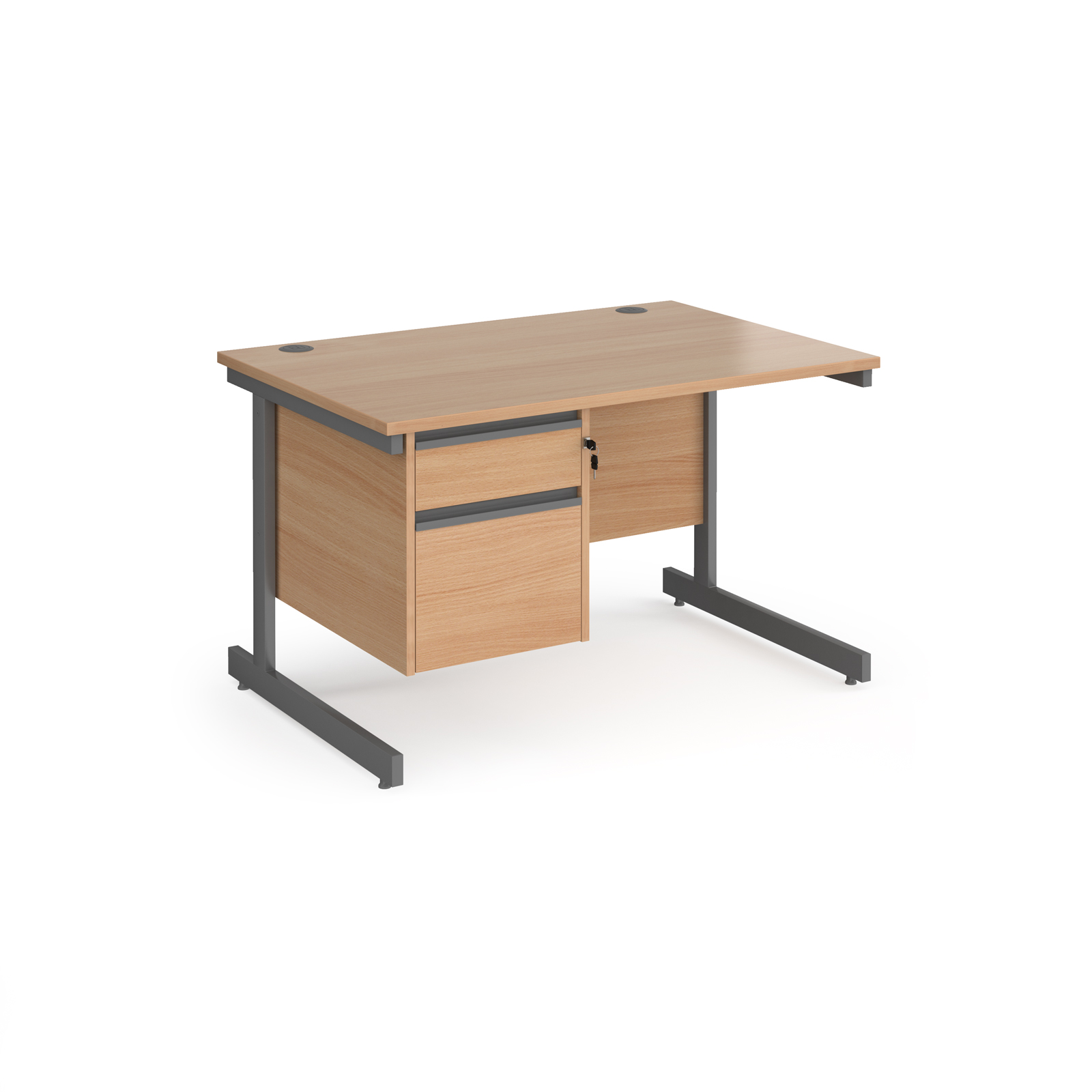 Contract 25 cantilever leg straight desk with 2 drawer pedestal