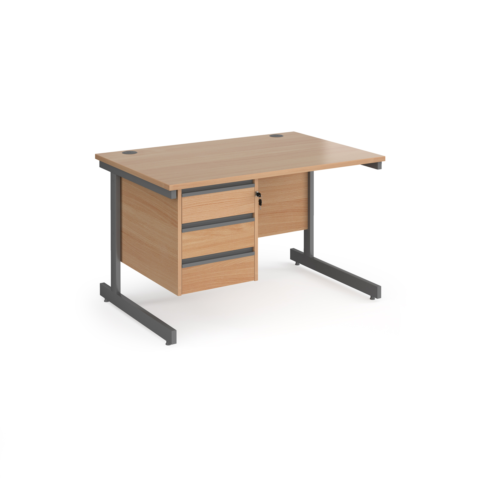 Contract 25 cantilever leg straight desk with 3 drawer pedestal