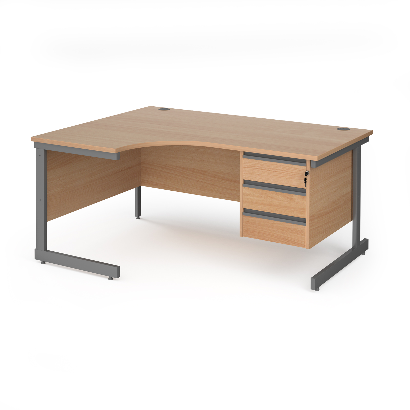 Contract 25 cantilever leg LH ergonomic desk with 3 drawer ped