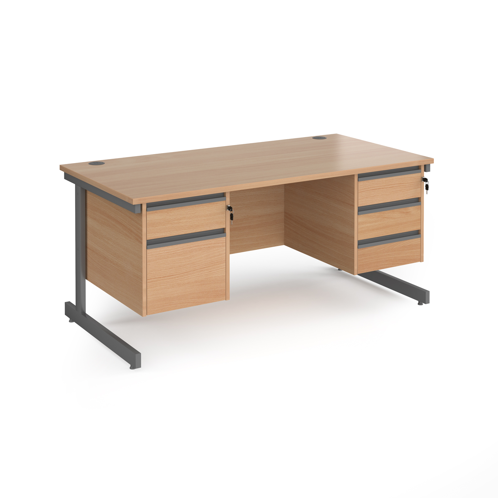 Contract 25 cantilever leg straight desk with 2 and 3 drawer peds