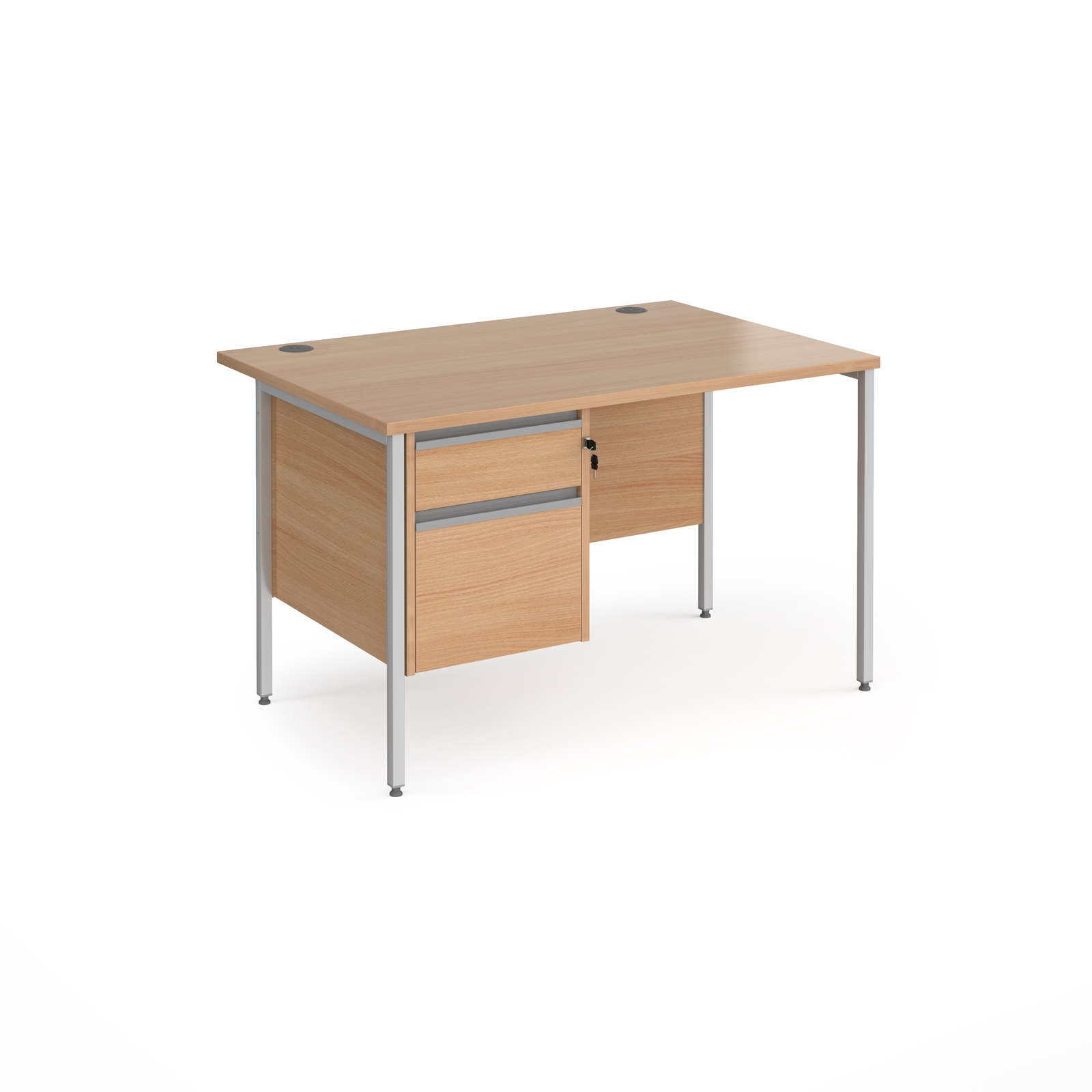 Rectangular Desks Contract 25 straight desk with 2 drawer pedestal and silver H-Frame leg 1200mm x 800mm - beech top