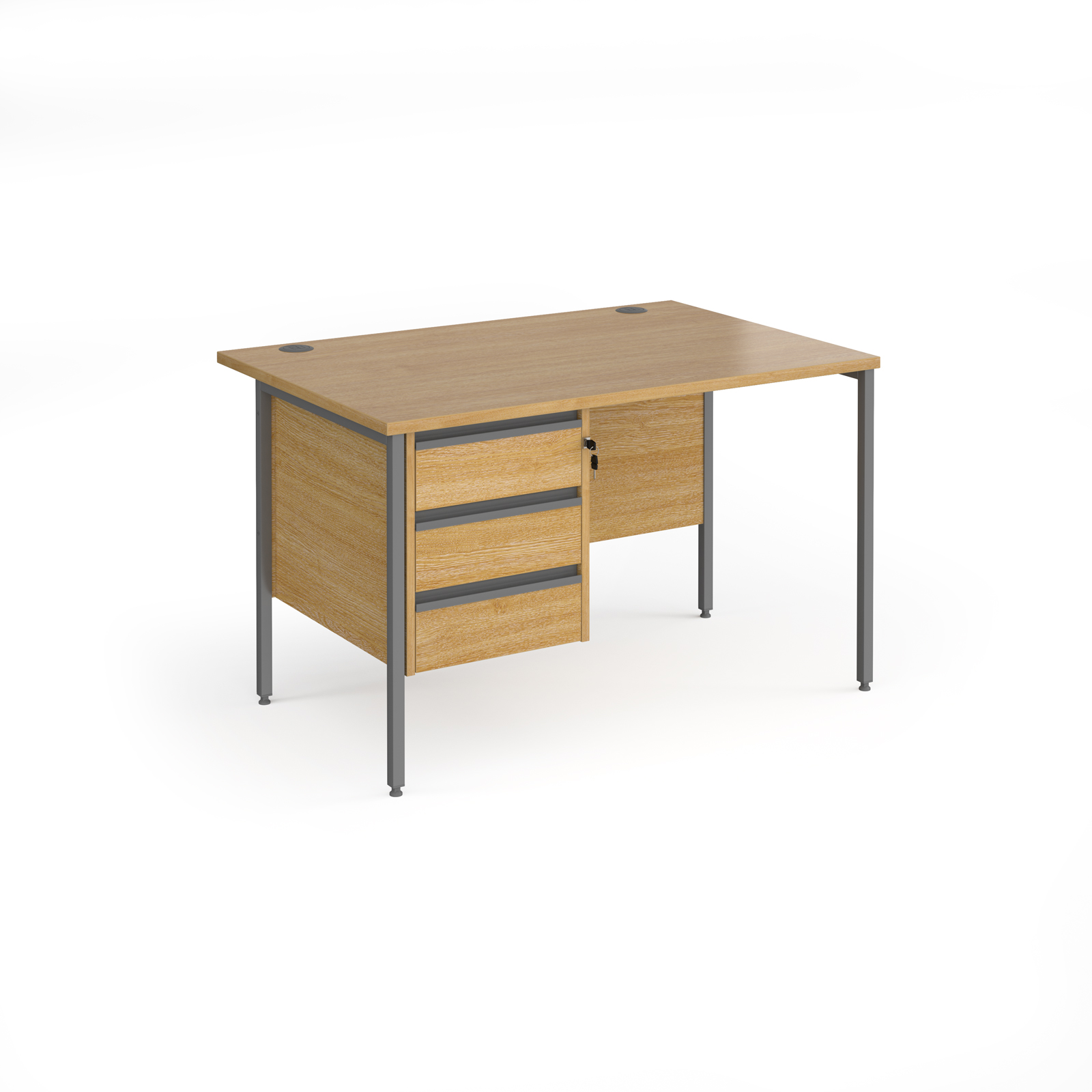 Rectangular Desks Contract 25 straight desk with 3 drawer pedestal and graphite H-Frame leg 1200mm x 800mm - oak top