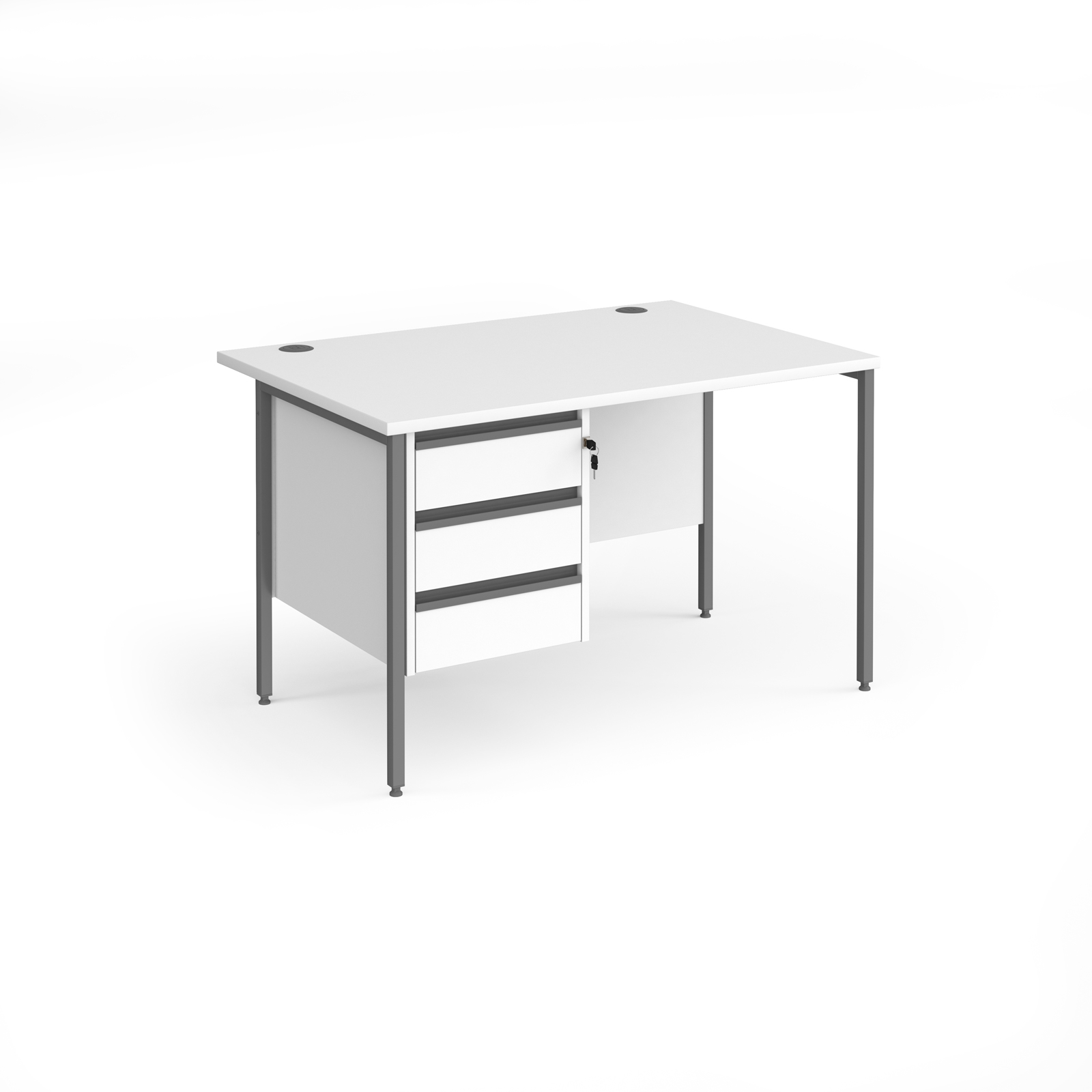 Rectangular Desks Contract 25 straight desk with 3 drawer pedestal and graphite H-Frame leg 1200mm x 800mm - white top