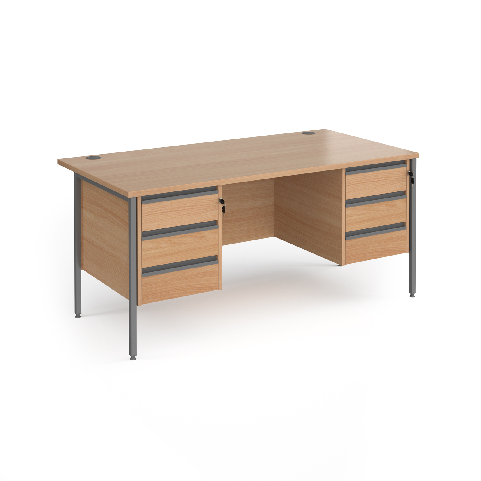 Rectangular Desks Contract 25 H-Frame straight desk with 3 and 3 drawer peds