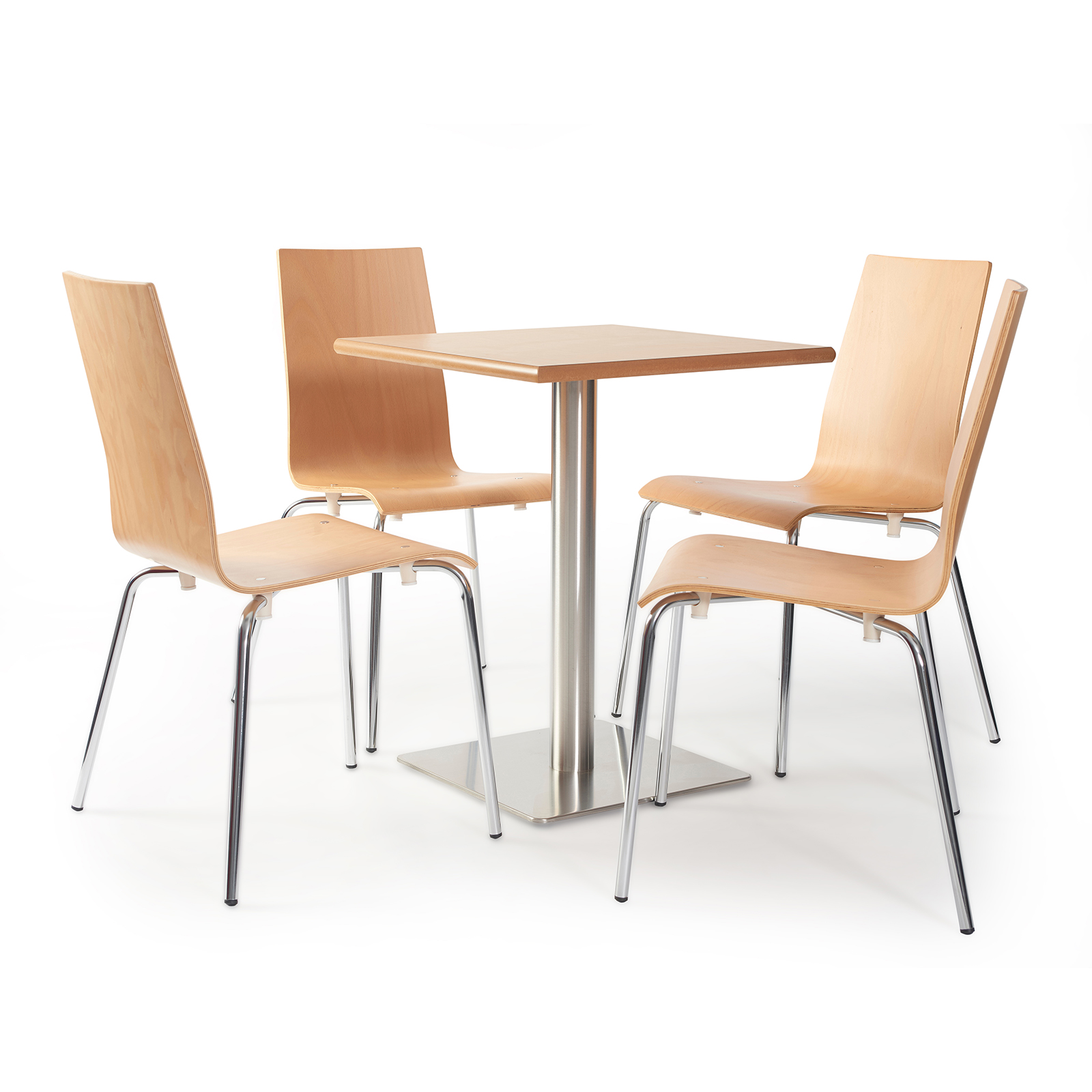 Fundamental dining chair in beech with chrome frame