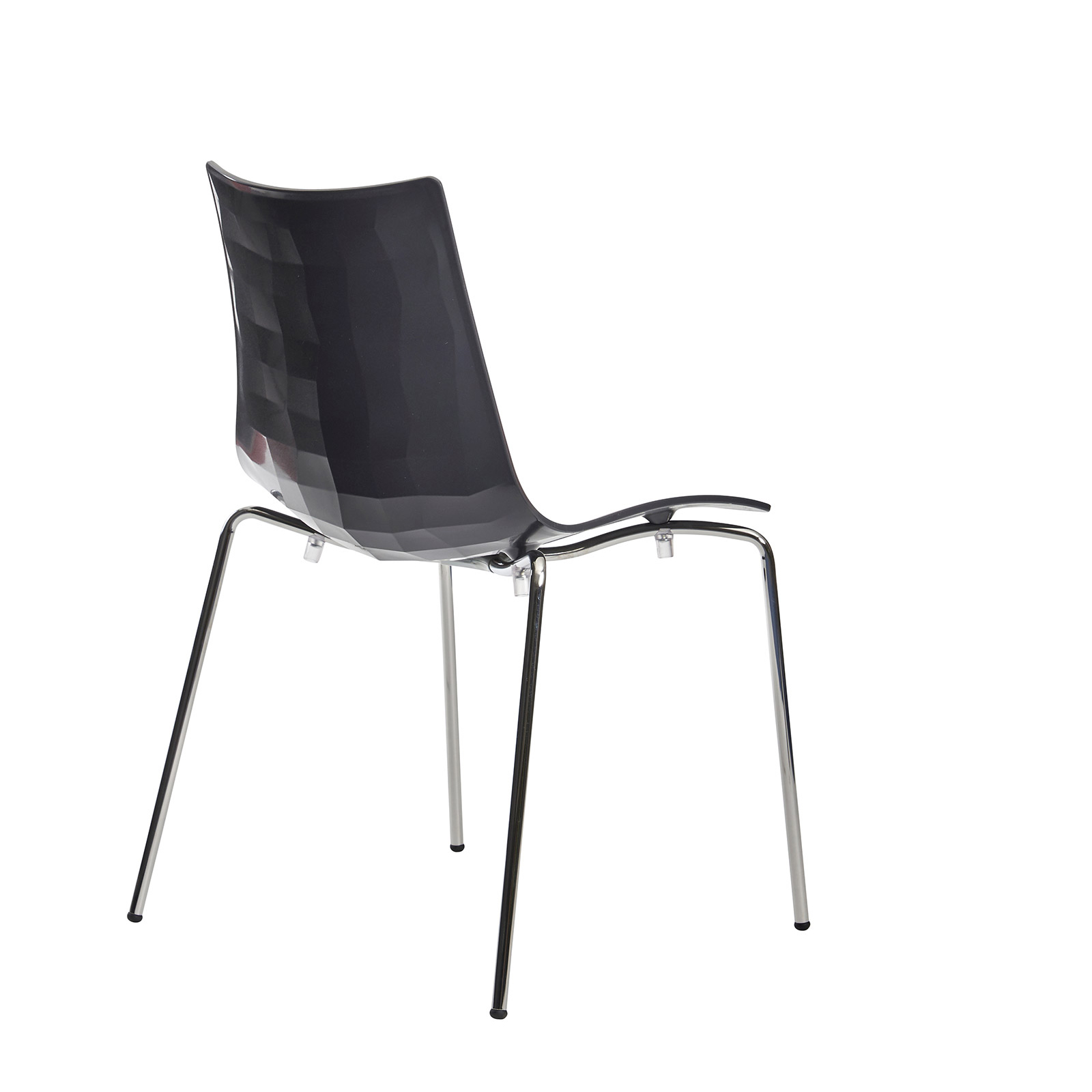 Gecko shell dining stacking chair with chrome legs - anthracite