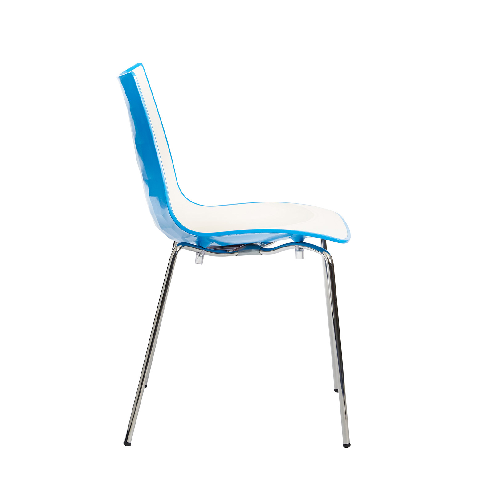 Gecko shell dining stacking chair with chrome legs - blue