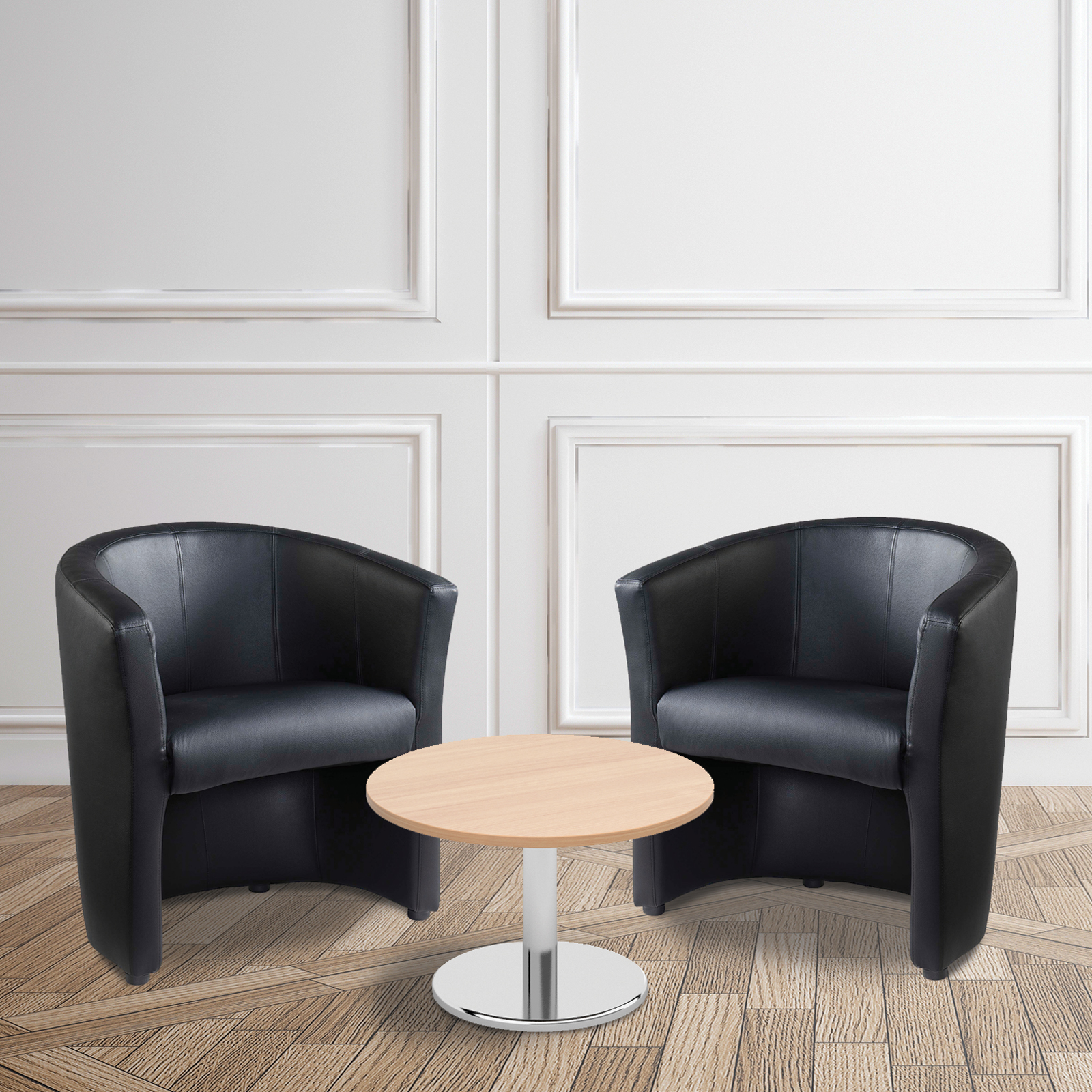 Reception Chairs Bundle deal - 2 x London tub chairs with 600mm coffee table - beech