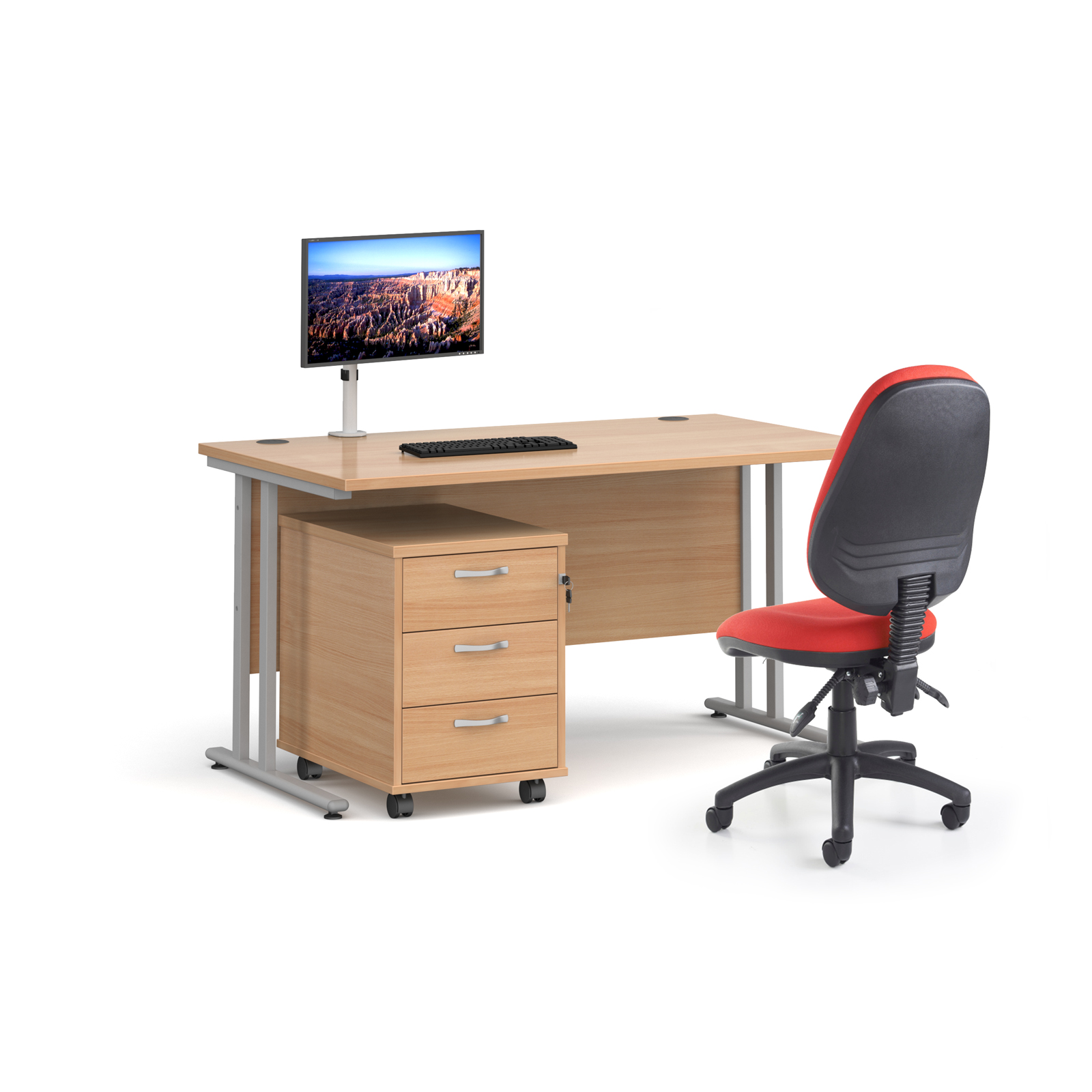 Bundles Bundle deal - Maestro 25 straight 1400mm desk in beech with silver frame, 3 drawer pedestal, Luna silver monitor arm and Vantage V100 chair in blue