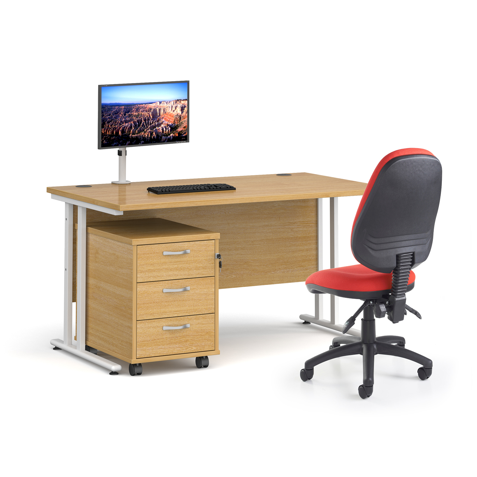 Bundles Bundle deal - Maestro 25 straight 1400mm desk in beech with white frame, 3 drawer pedestal, Luna white monitor arm and Vantage V100 chair in blue
