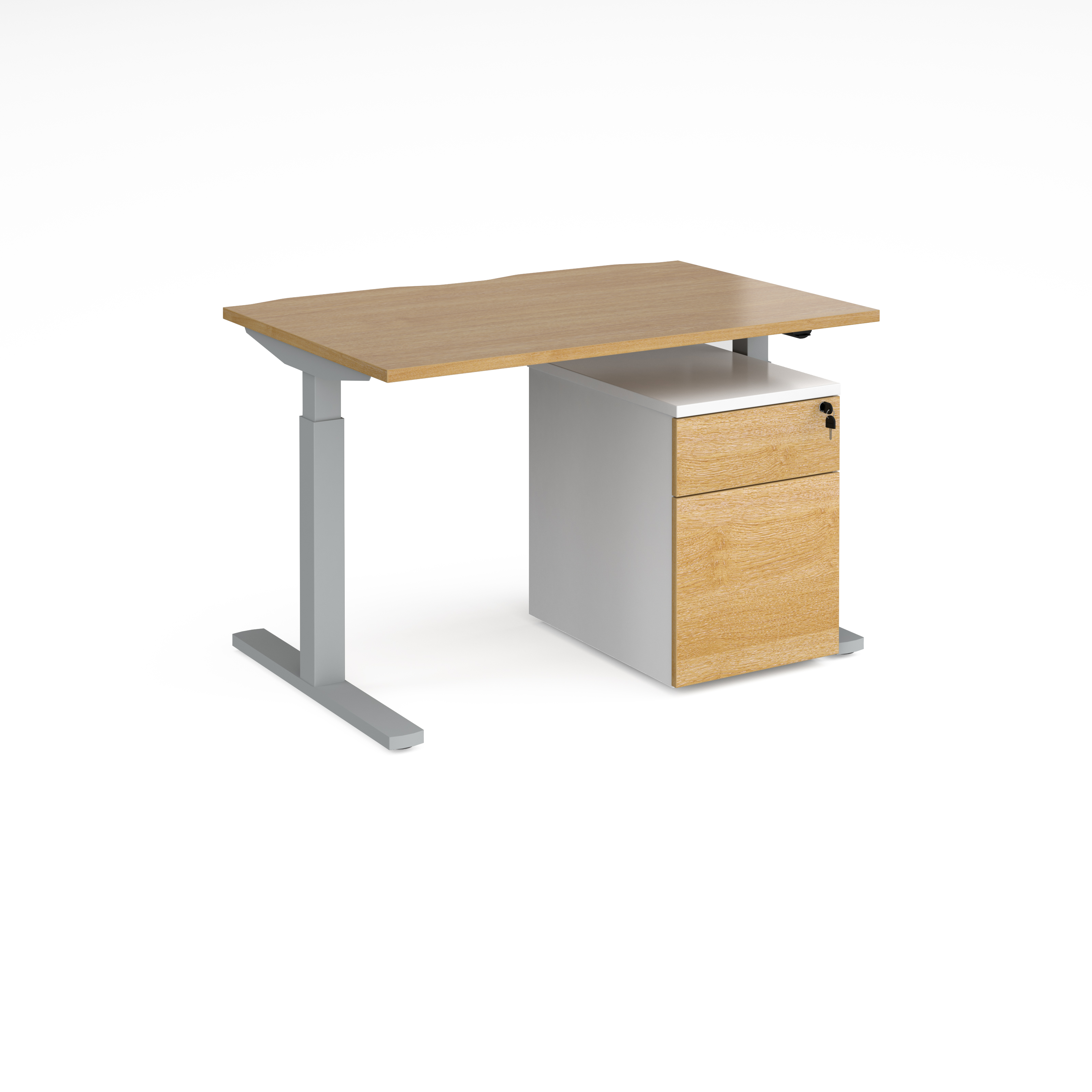 Sit Stand Desking Elev8 Mono straight sit-stand desk 1200mm x 800mm with silver frame and beech top with Duo mobile pedestal - white/beech