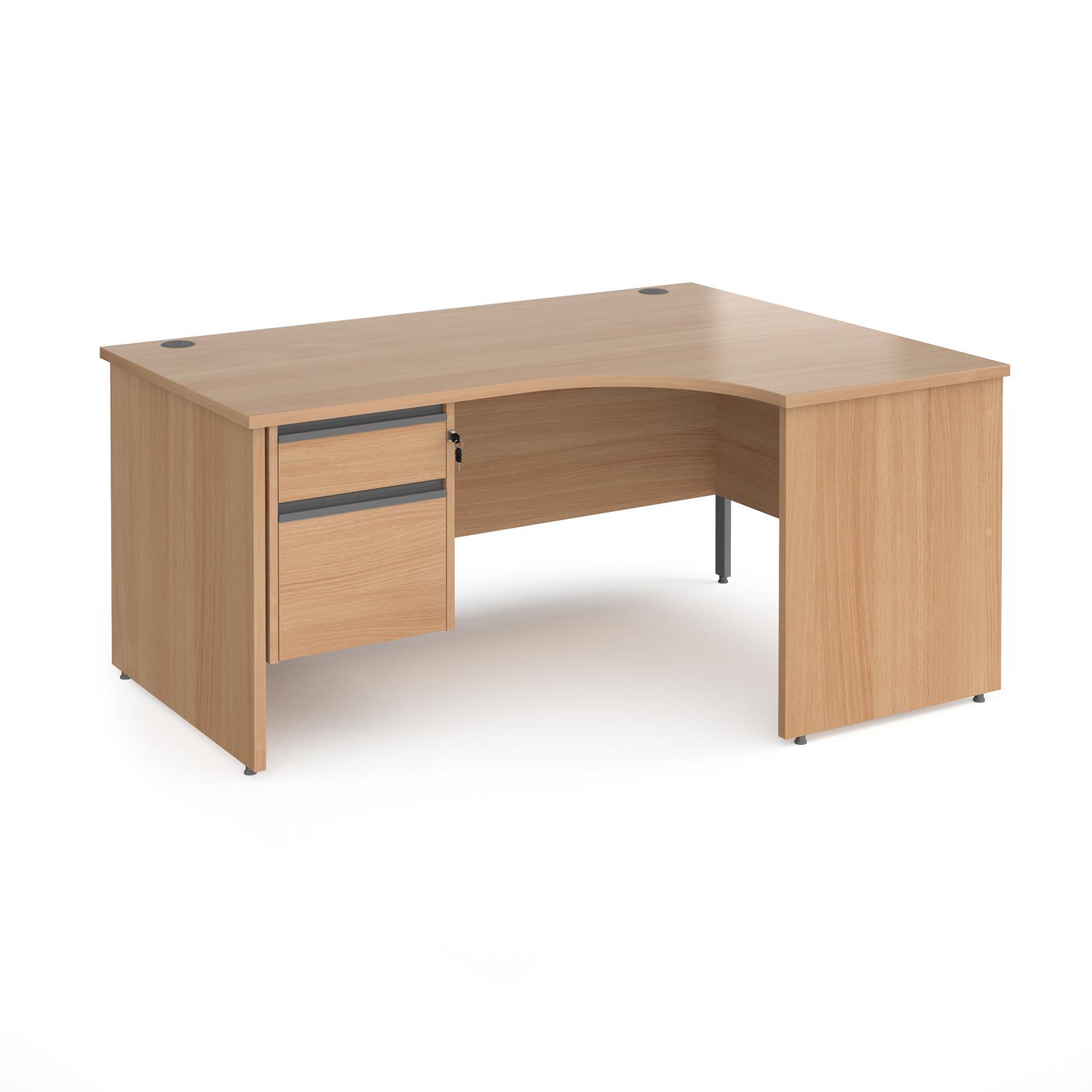 Contract 25 panel leg RH ergonomic desk with 2 drawer ped