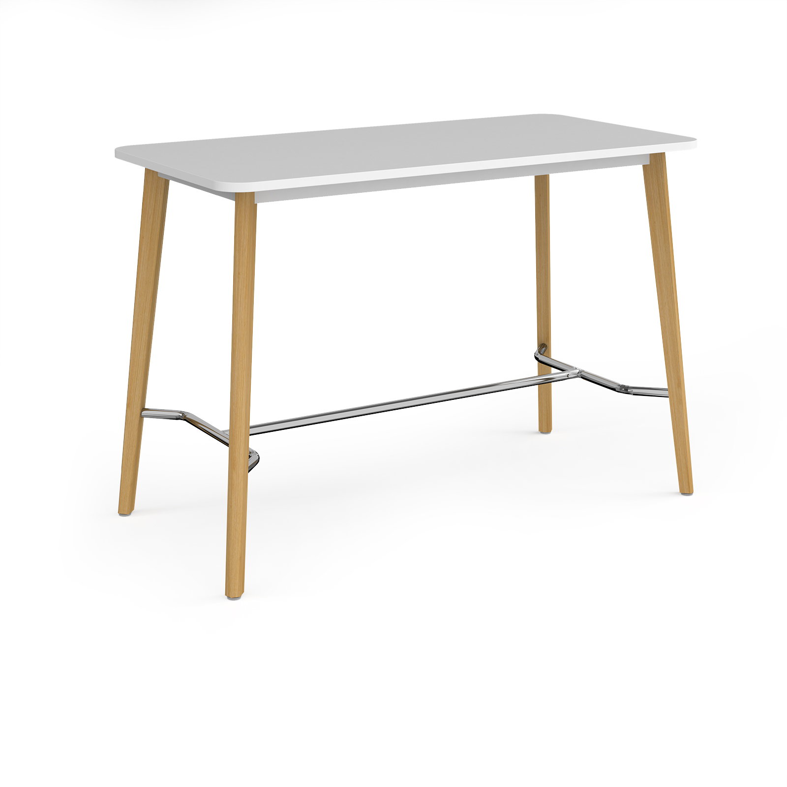 Canteen / Dining Como rectangular poseur table with 4 oak legs 1800mm x 800mm - white