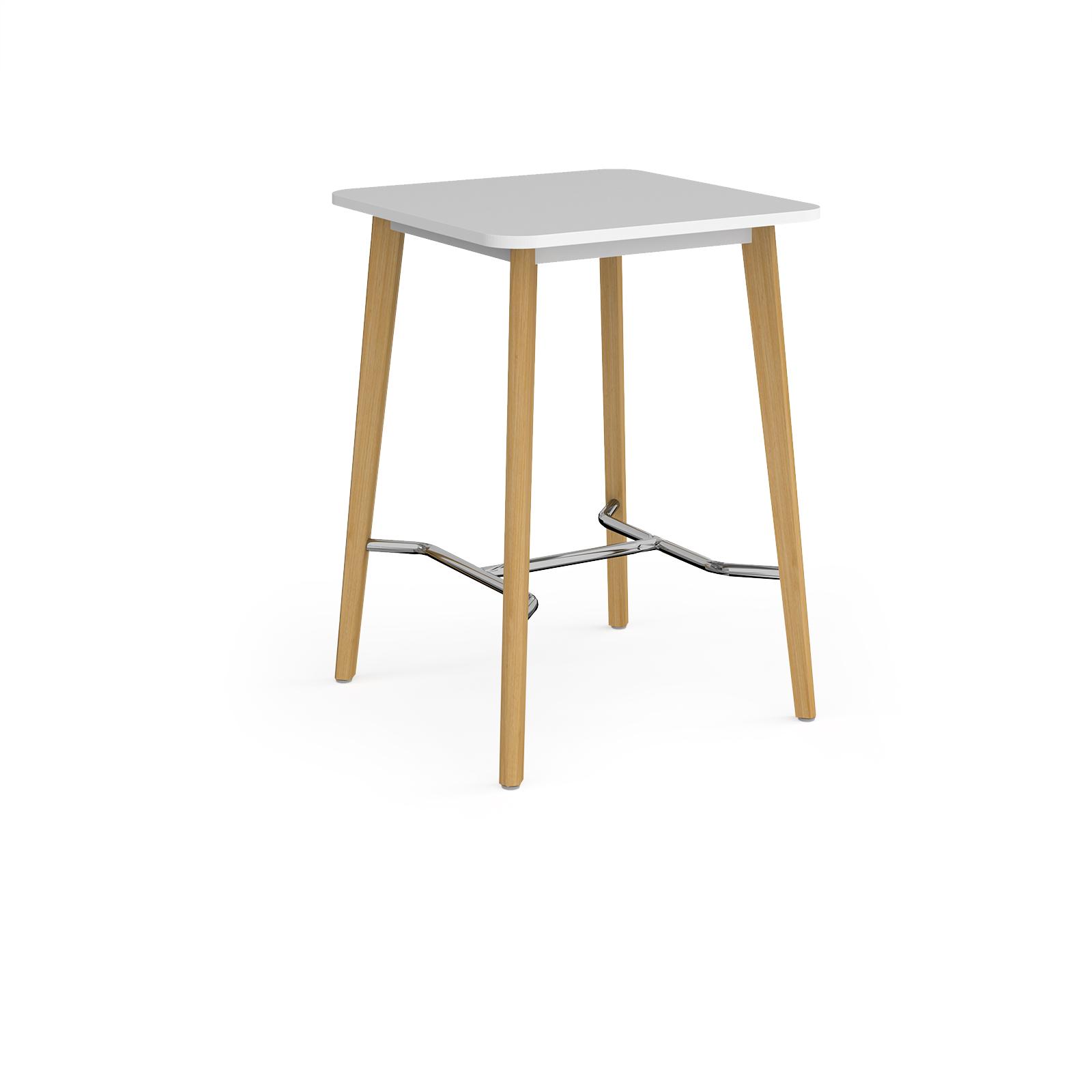 Como square poseur table with 4 oak legs 800mm - white