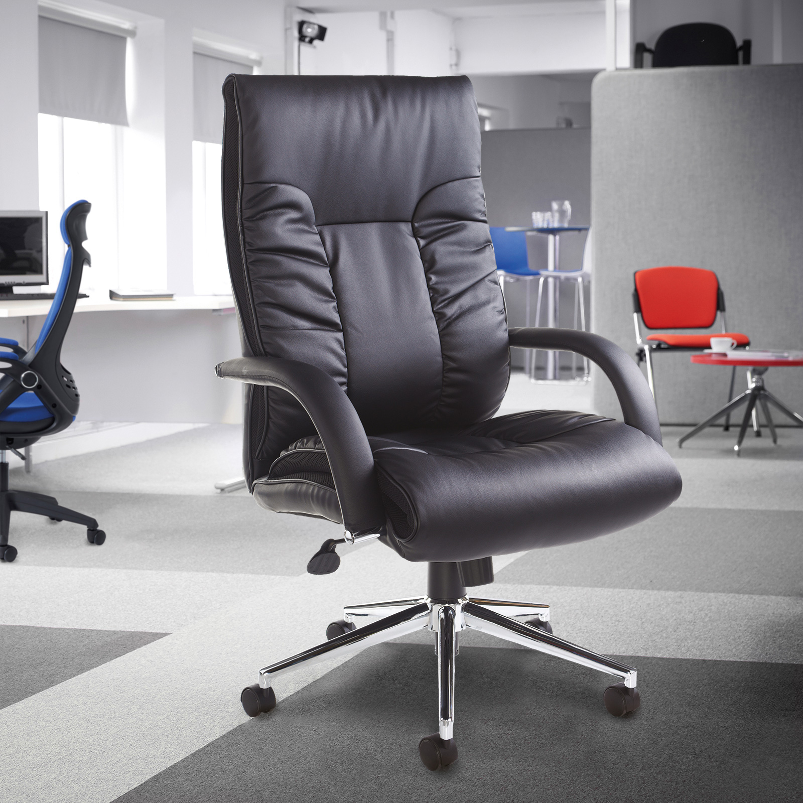 Chairs Derby high back executive chair - black faux leather