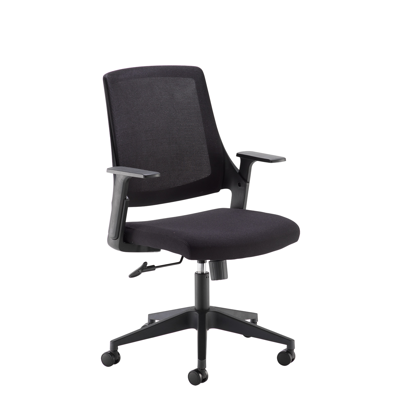 Desk Chairs Duffy black mesh back operator chair with black fabric seat and chrome/black base