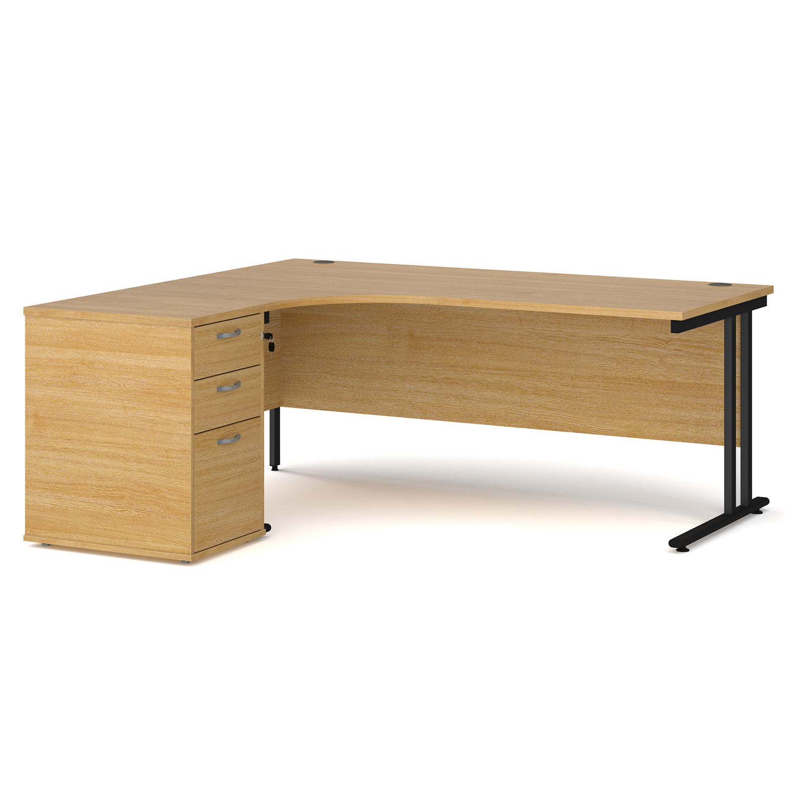 Left Handed Maestro 25 left hand ergonomic desk 1800mm with black cantilever frame and desk high pedestal - oak