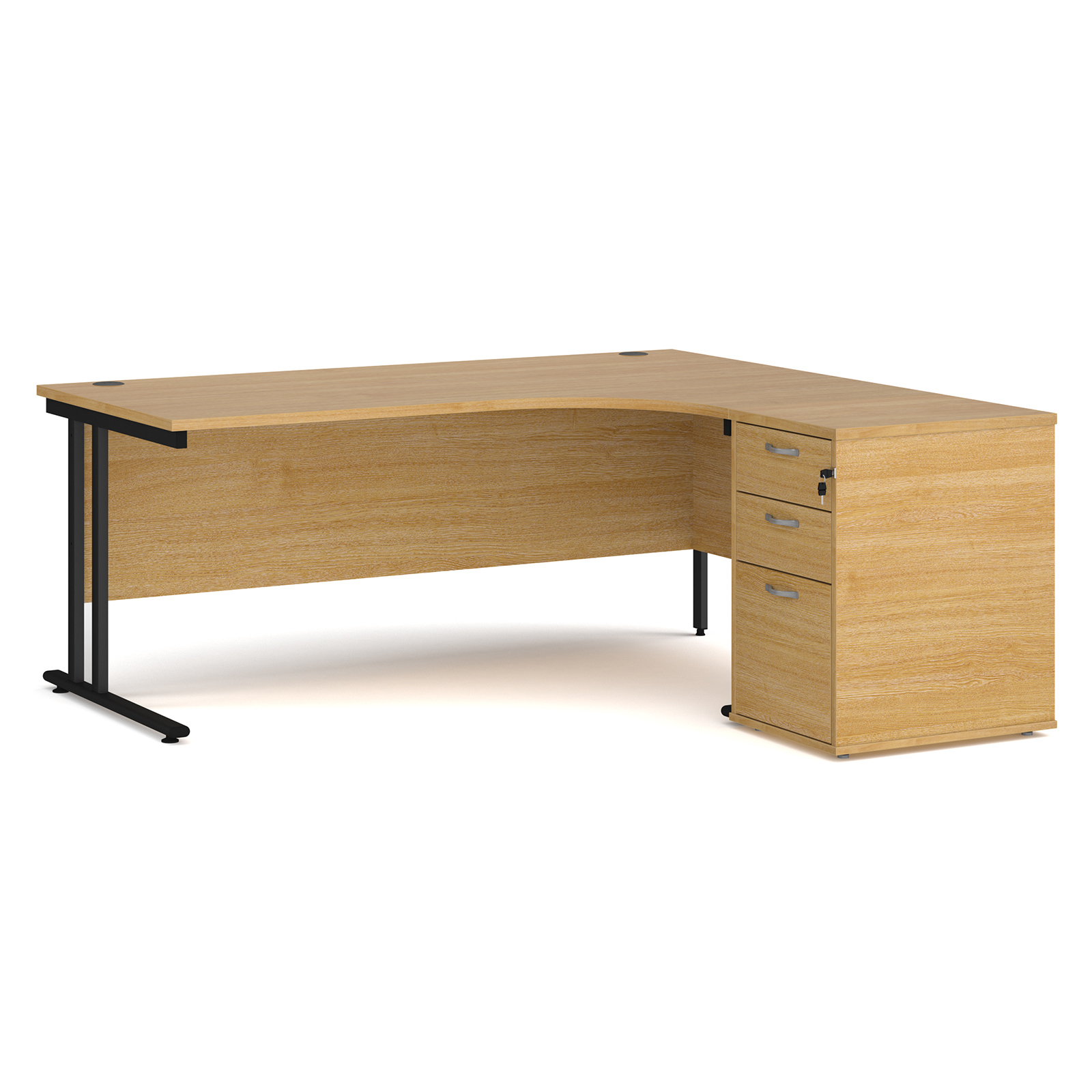 Right Handed Maestro 25 right hand ergonomic desk 1800mm with black cantilever frame and desk high pedestal - oak