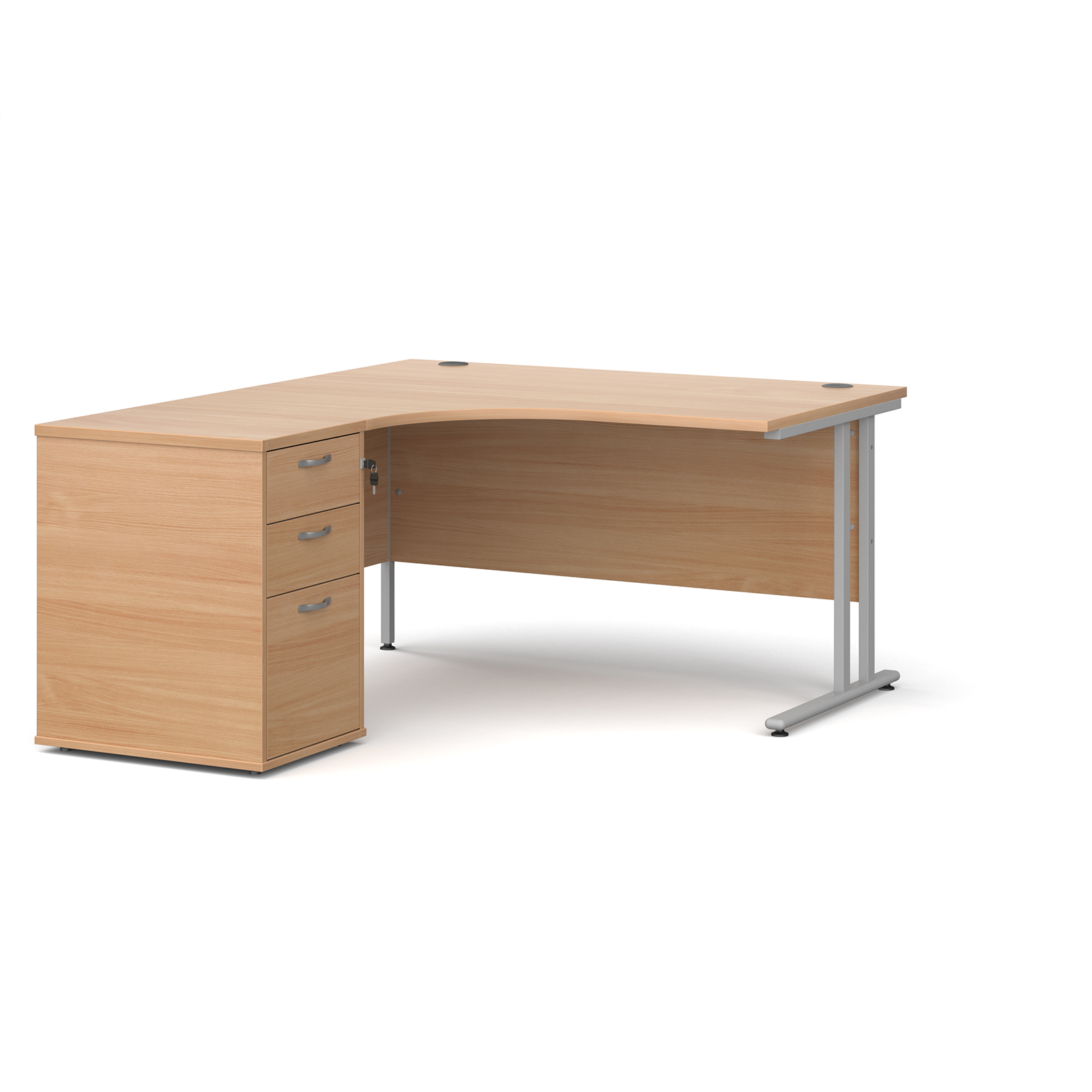 Left Handed Maestro 25 left hand ergonomic desk 1400mm with silver cantilever frame and desk high pedestal - beech