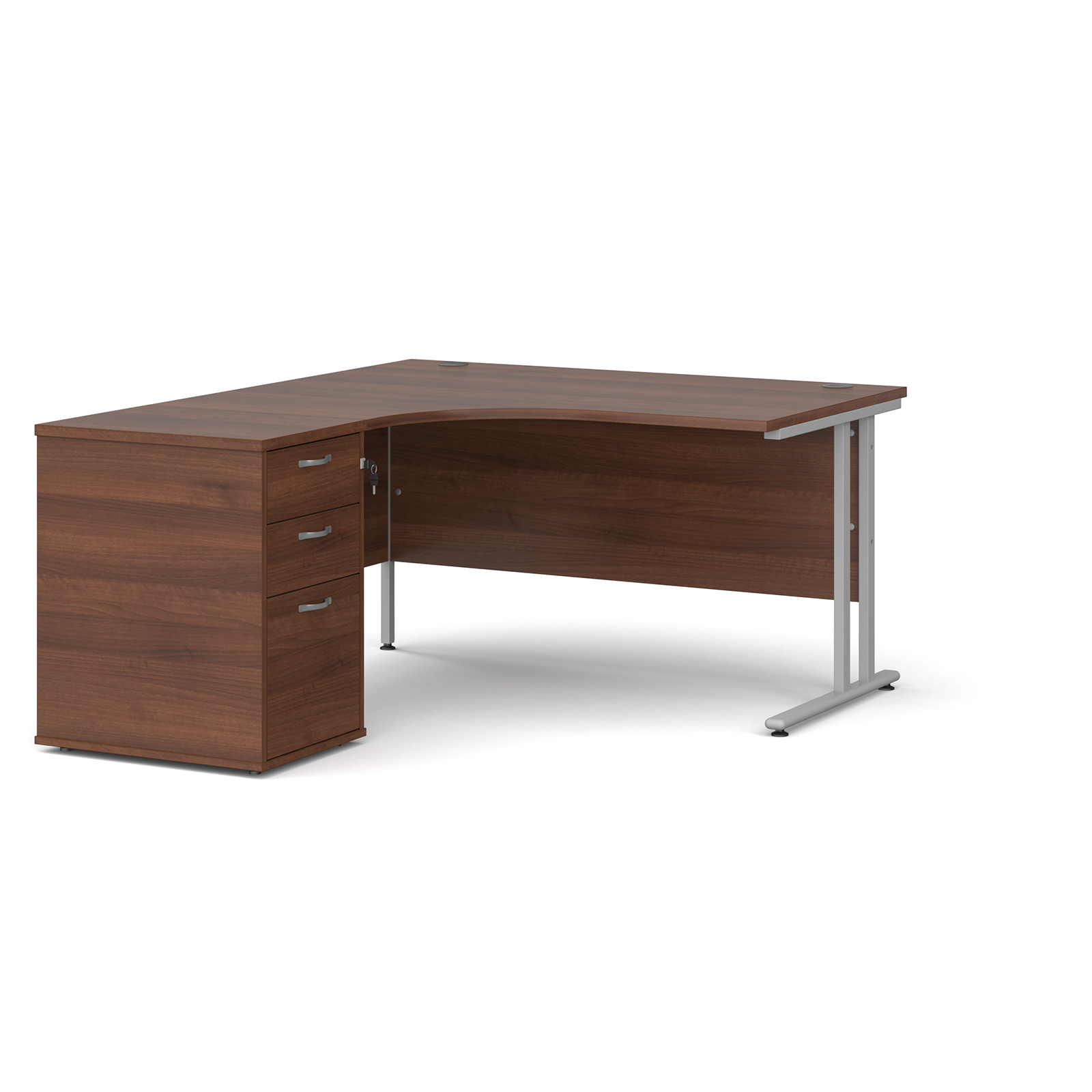 Left Handed Maestro 25 left hand ergonomic desk 1400mm with silver cantilever frame and desk high pedestal - walnut