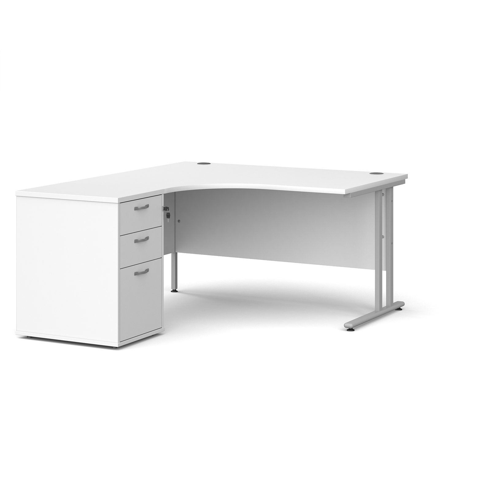 Left Handed Maestro 25 left hand ergonomic desk 1400mm with silver cantilever frame and desk high pedestal - white