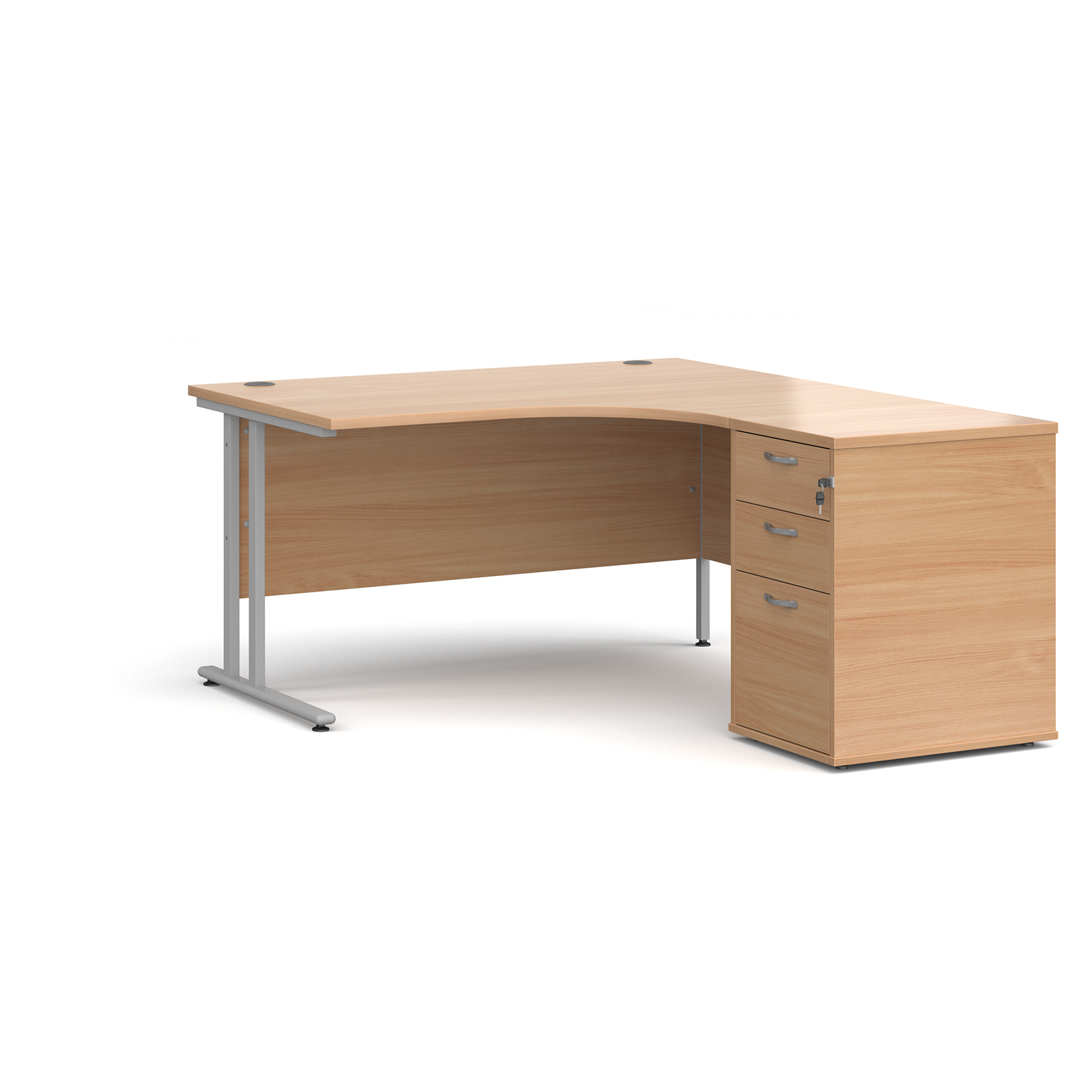 Right Handed Maestro 25 right hand ergonomic desk 1400mm with silver cantilever frame and desk high pedestal - beech